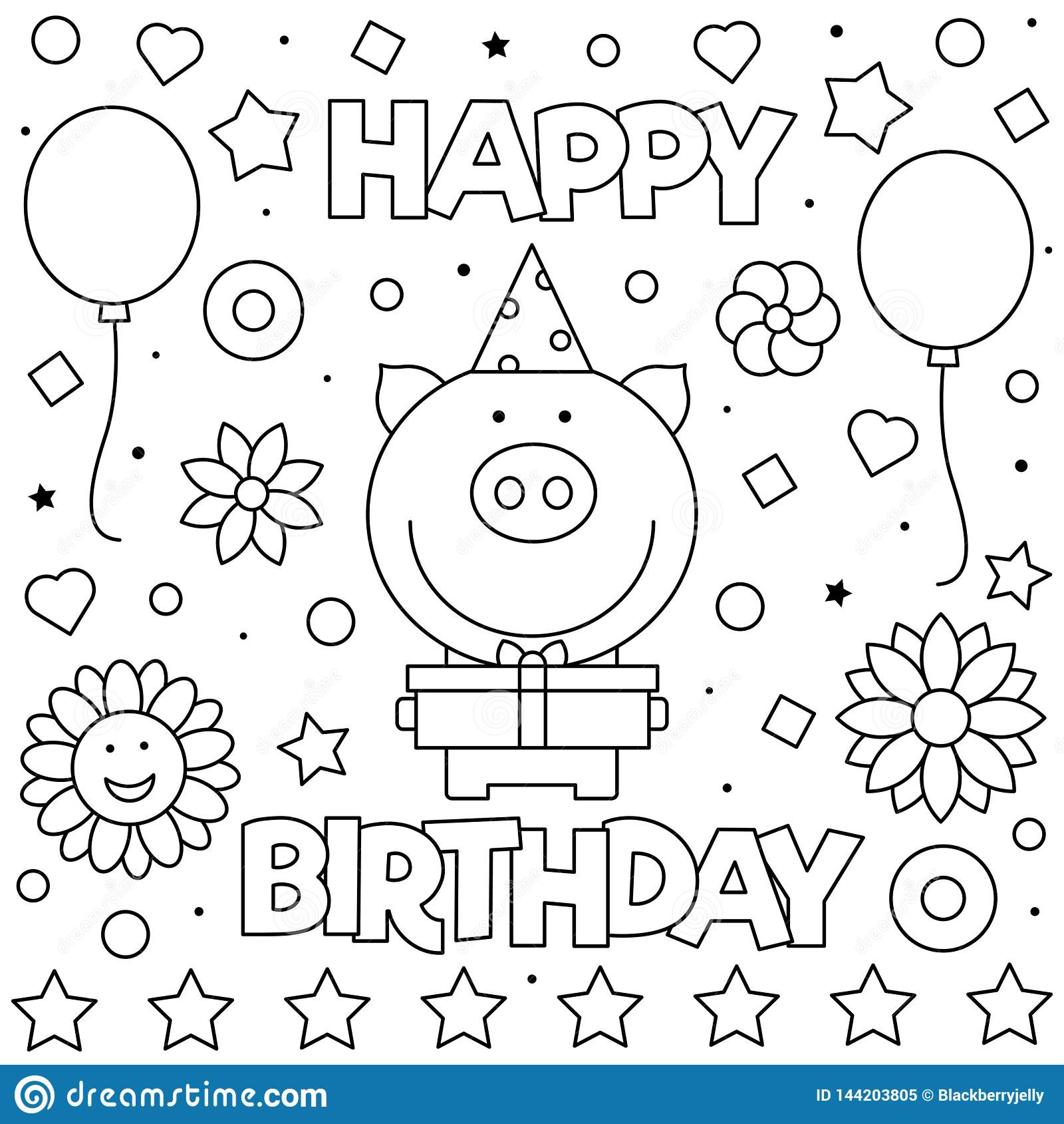 Happy Birthday Coloring Page Vector Illustration Of Pig Stock Vector Illustration Of Drawing Balloon 144203805