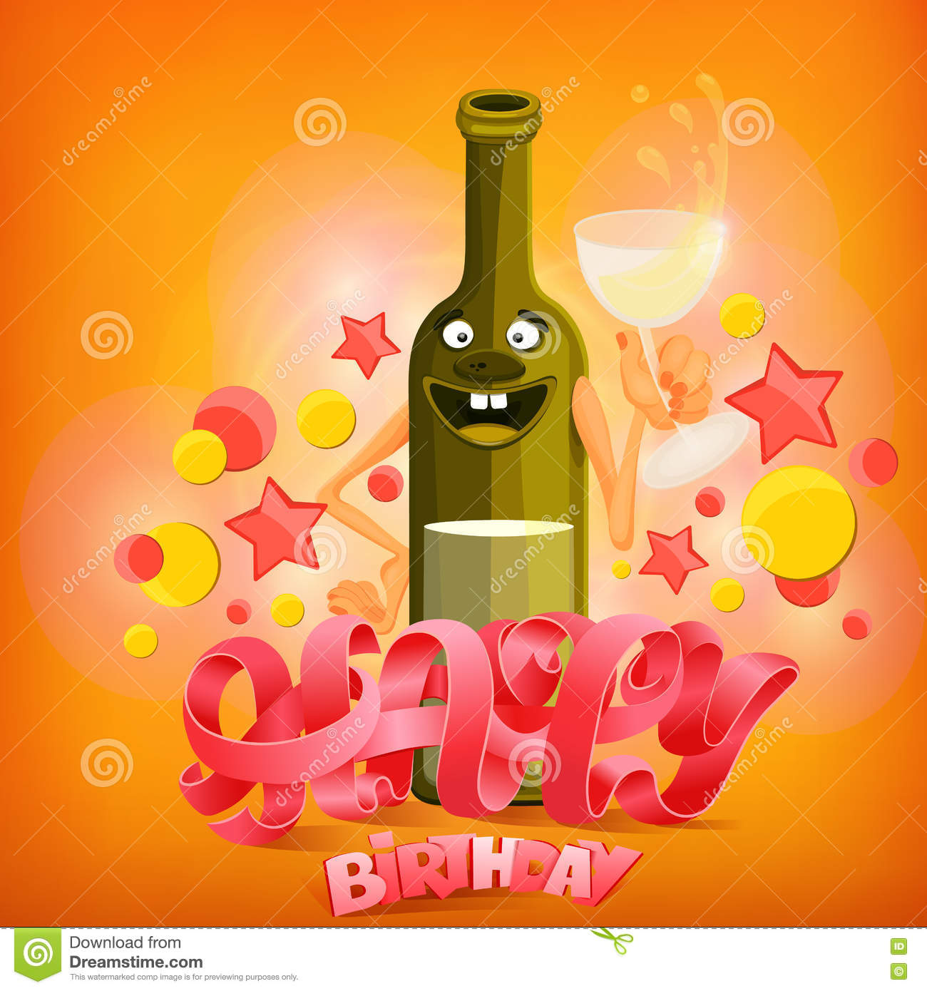 Happy Birthday Concept Card With Wine Bottle Character Stock