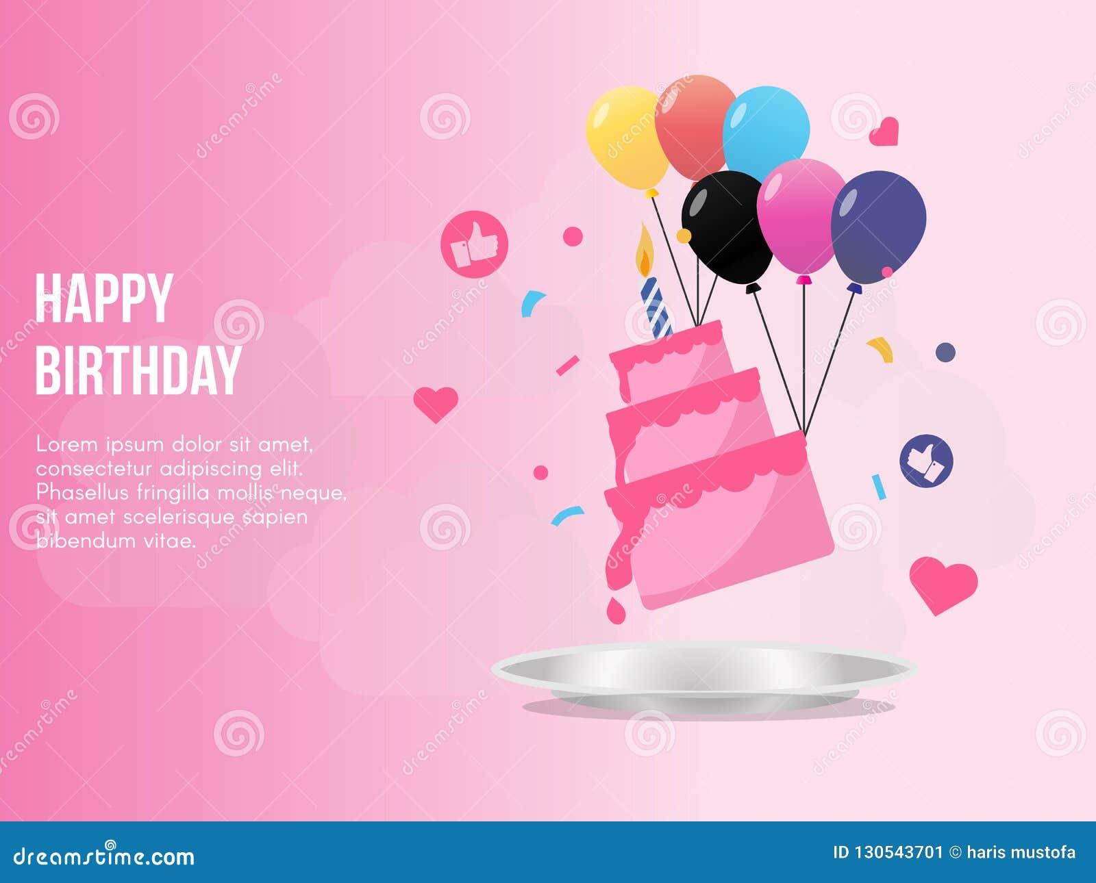 Happy Birthday Concept Illustration Vector Design Template
