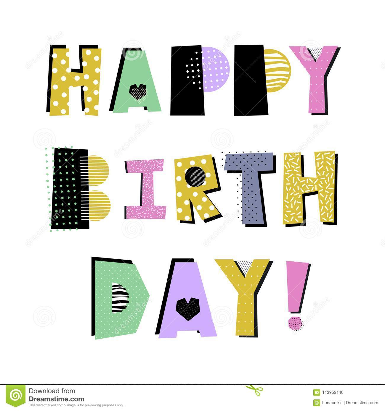 Download Happy Birthday Creative Isolated Lettering Stock Vector