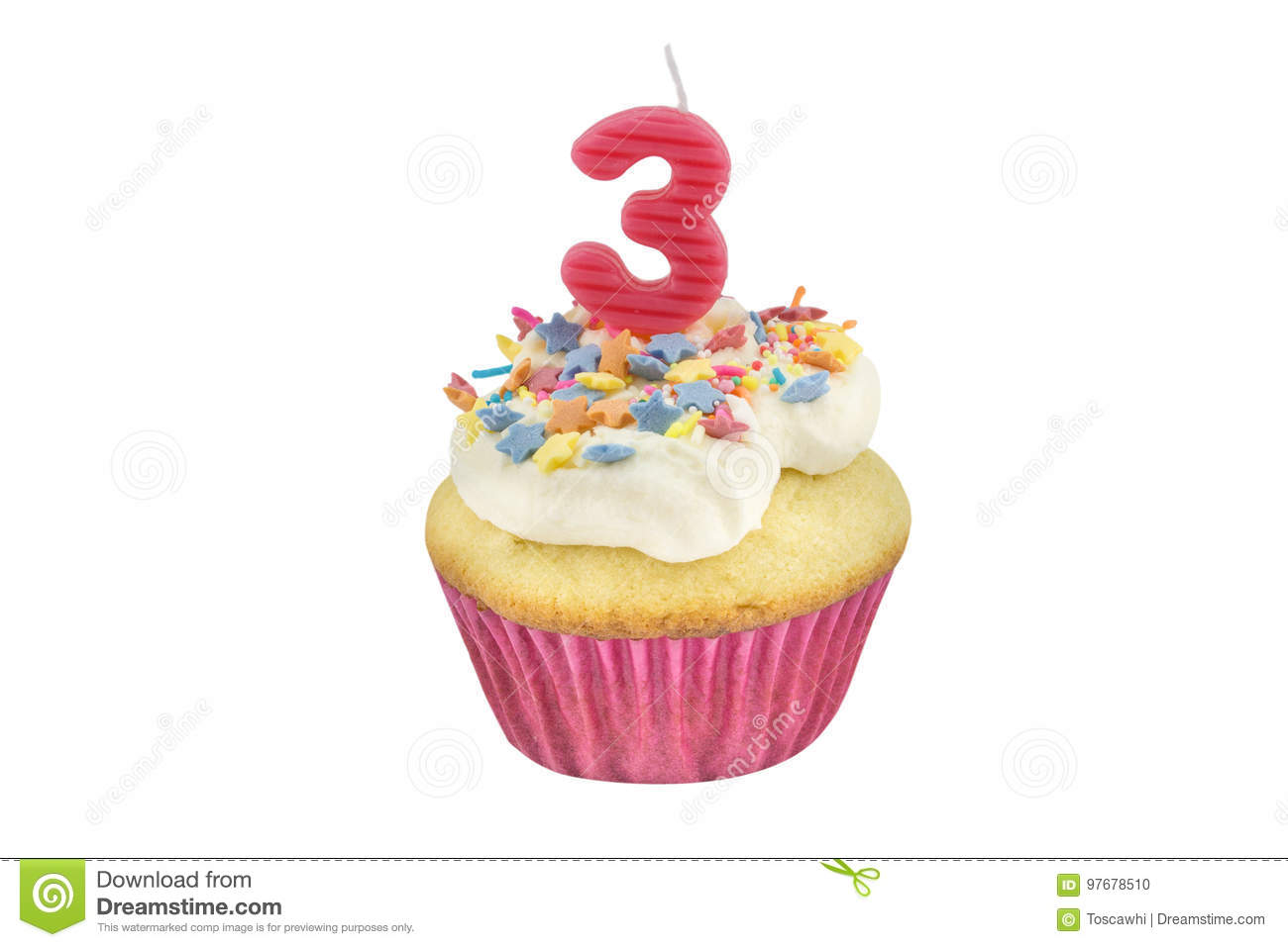 Happy Birthday Cup Cake With Star Sprinkles And Number 3 Pink Candle On White Table Background