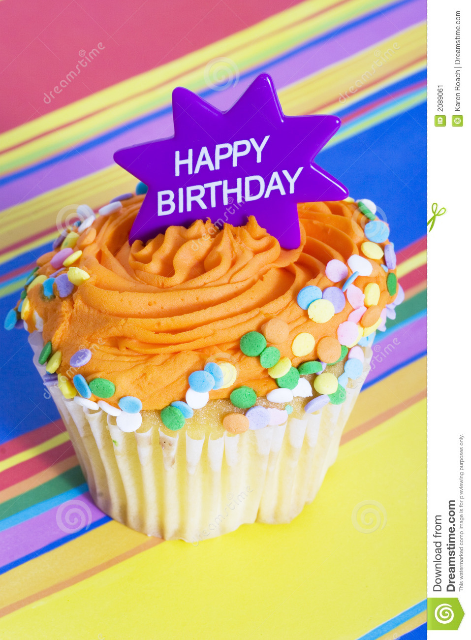 Happy Birthday Cupcake Stock Image Image Of Cakes Cook