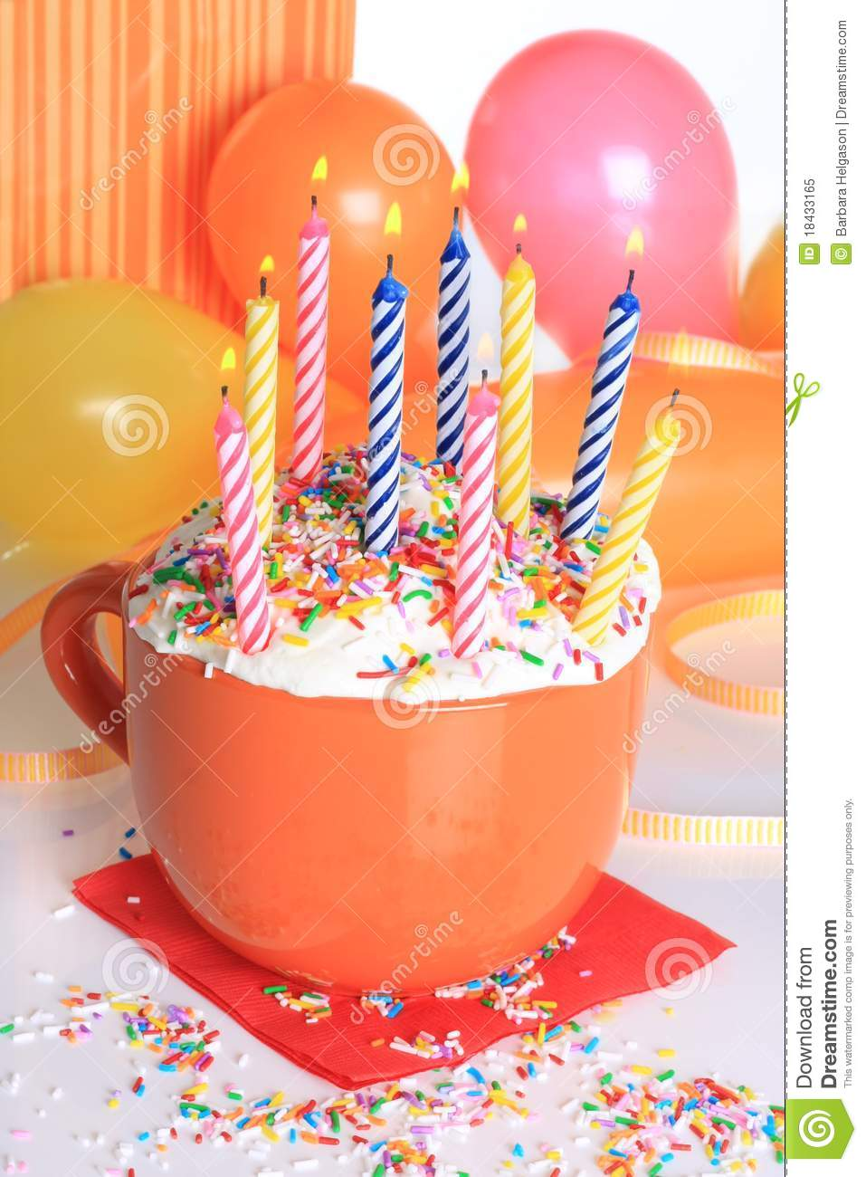 Happy birthday lit candles on colorful balloons royalty free stock - Happy Birthday Cupcake And Candles Royalty Free Stock