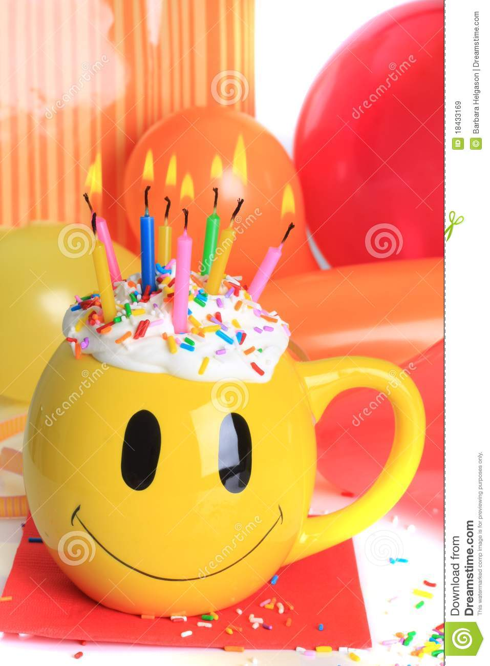 Happy Birthday Cupcake And Candles Stock Image Image Of