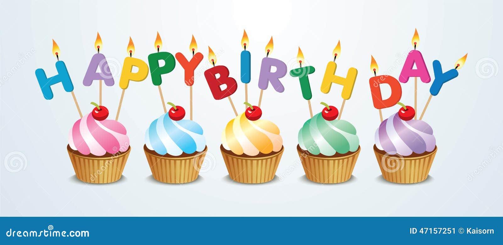 Happy Birthday Cupcake Stock Vector Image 47157251