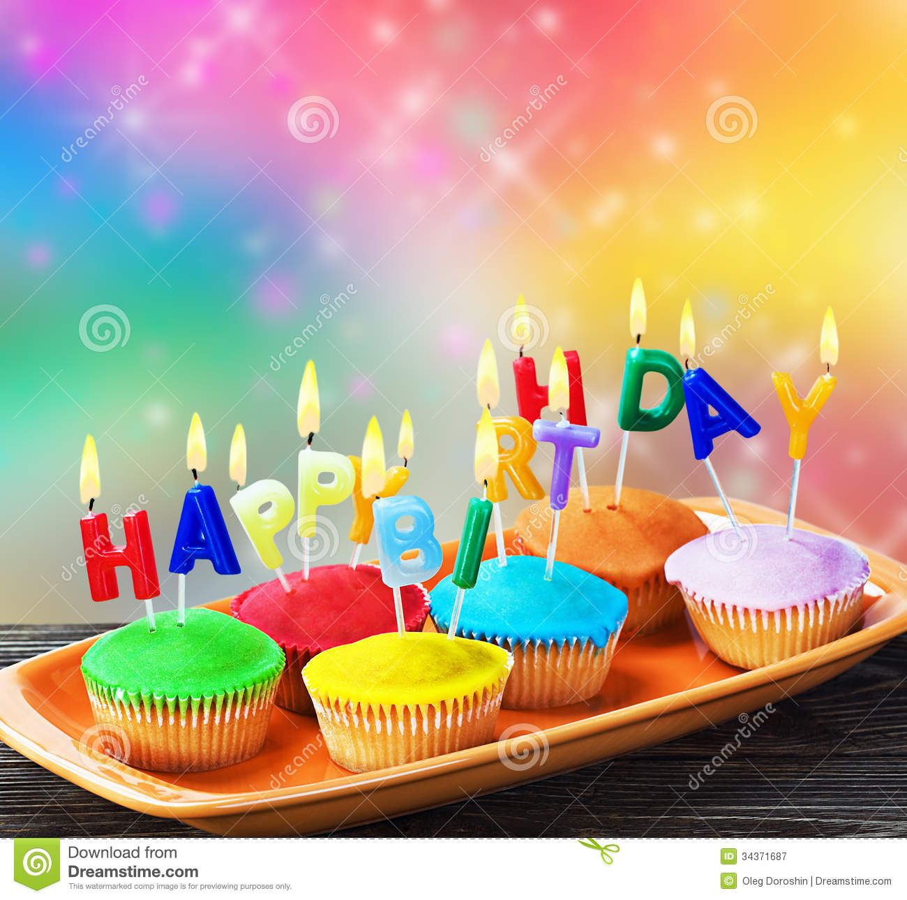 Happy Birthday Cupcakes With Candles Stock Image