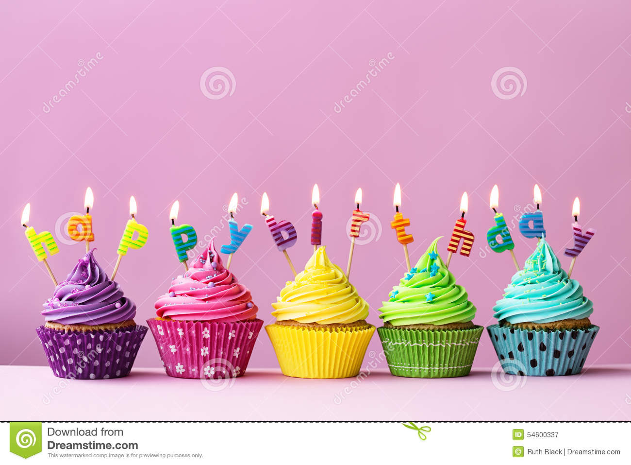Happy Birthday Cupcakes Stock Photo Image 54600337