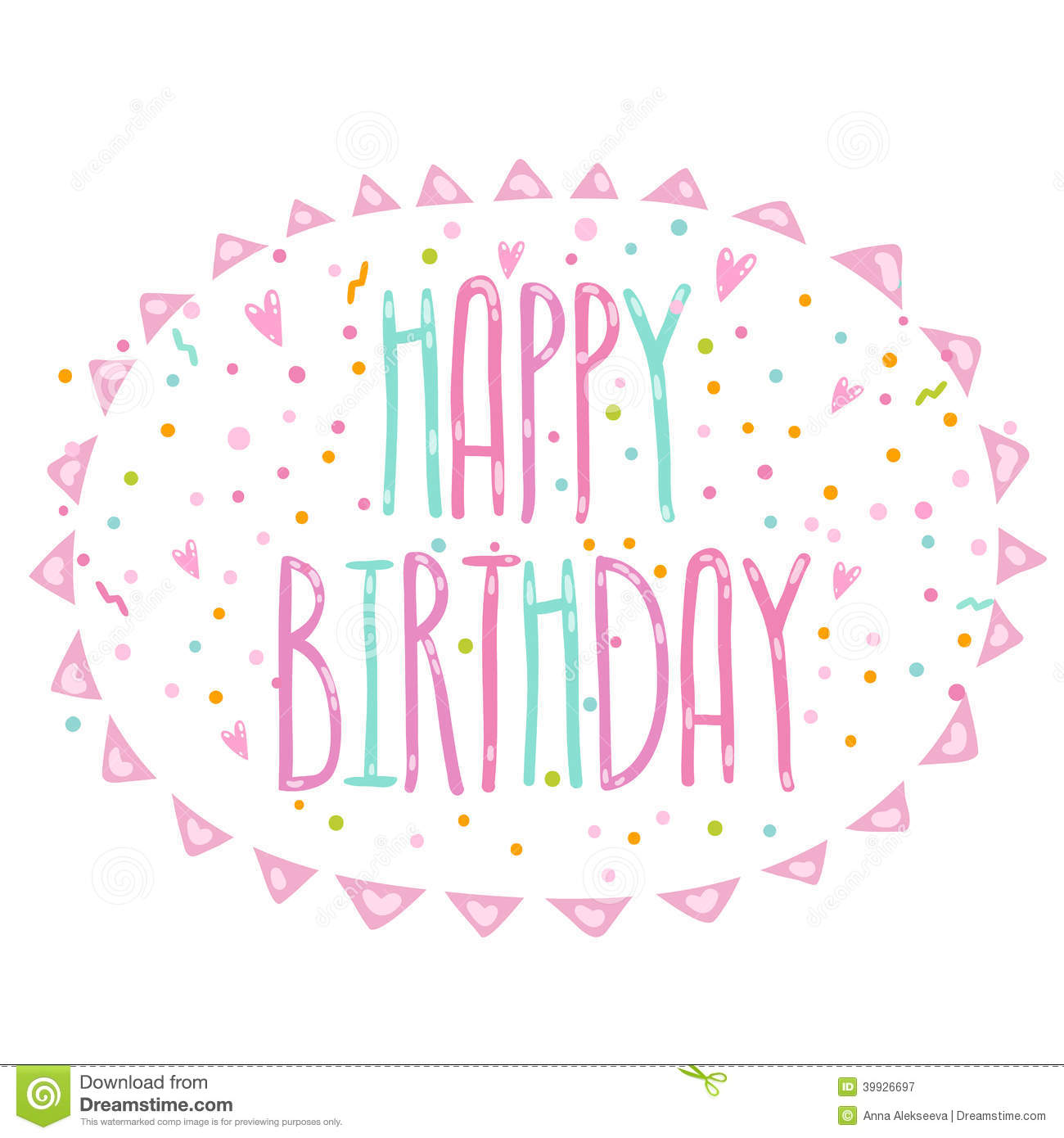 Happy Birthday Illustration Font ~ Happy birthday cute cartoon text with confetti stock vector image