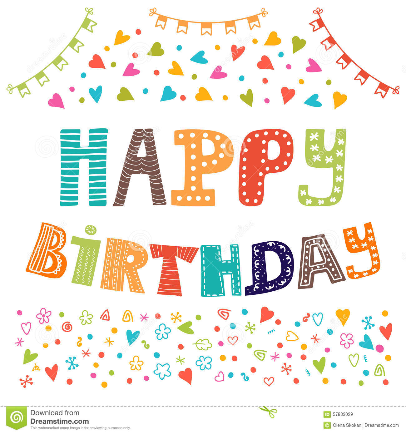 Happy Birthday. Cute Greeting Card With Funny Design