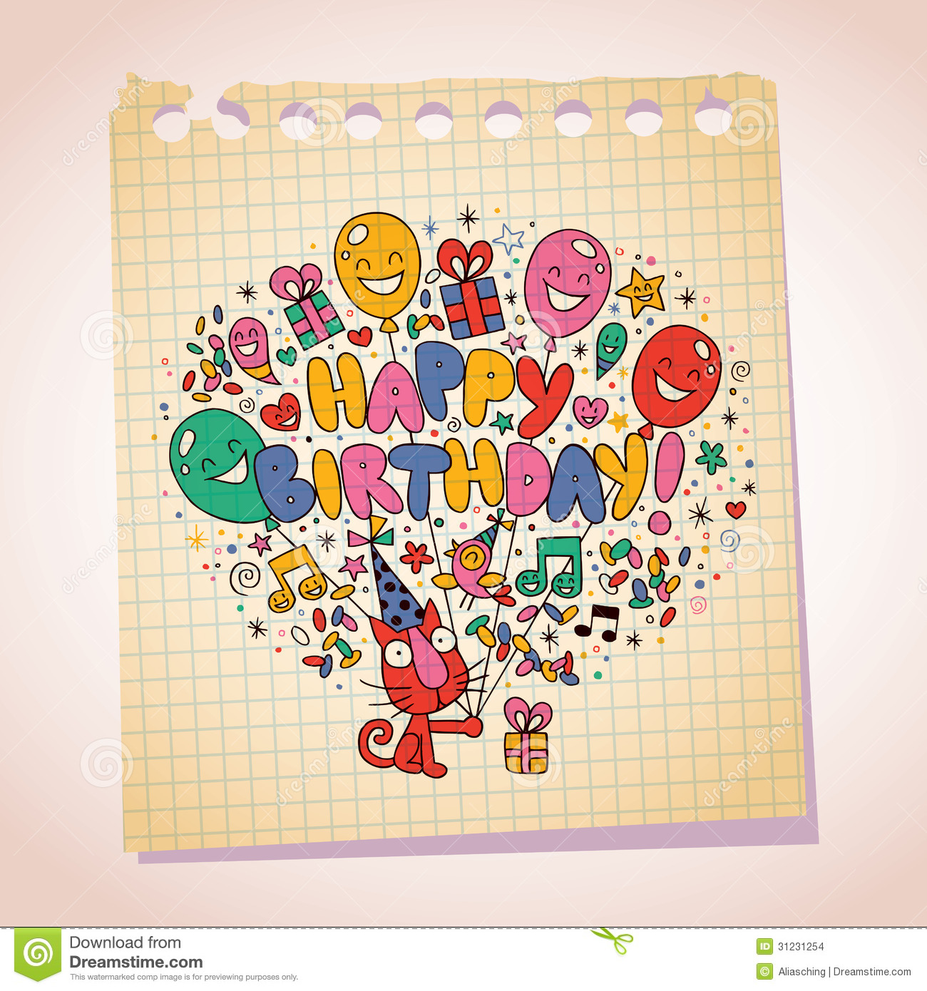 happy birthday cute kitten note paper cartoon sketch stock vector
