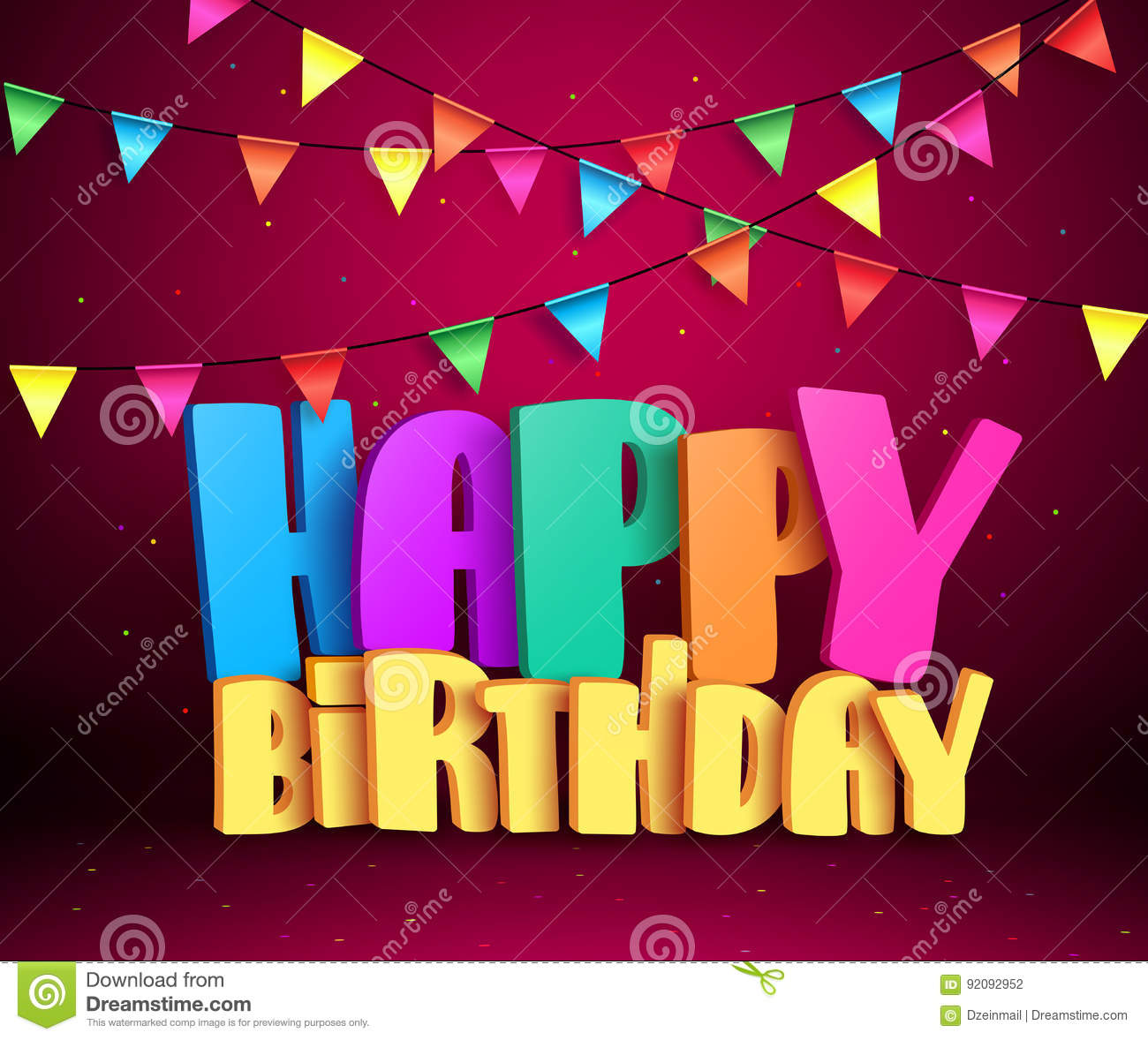 Happy Birthday 3d Vector Text With Colorful Streamers For
