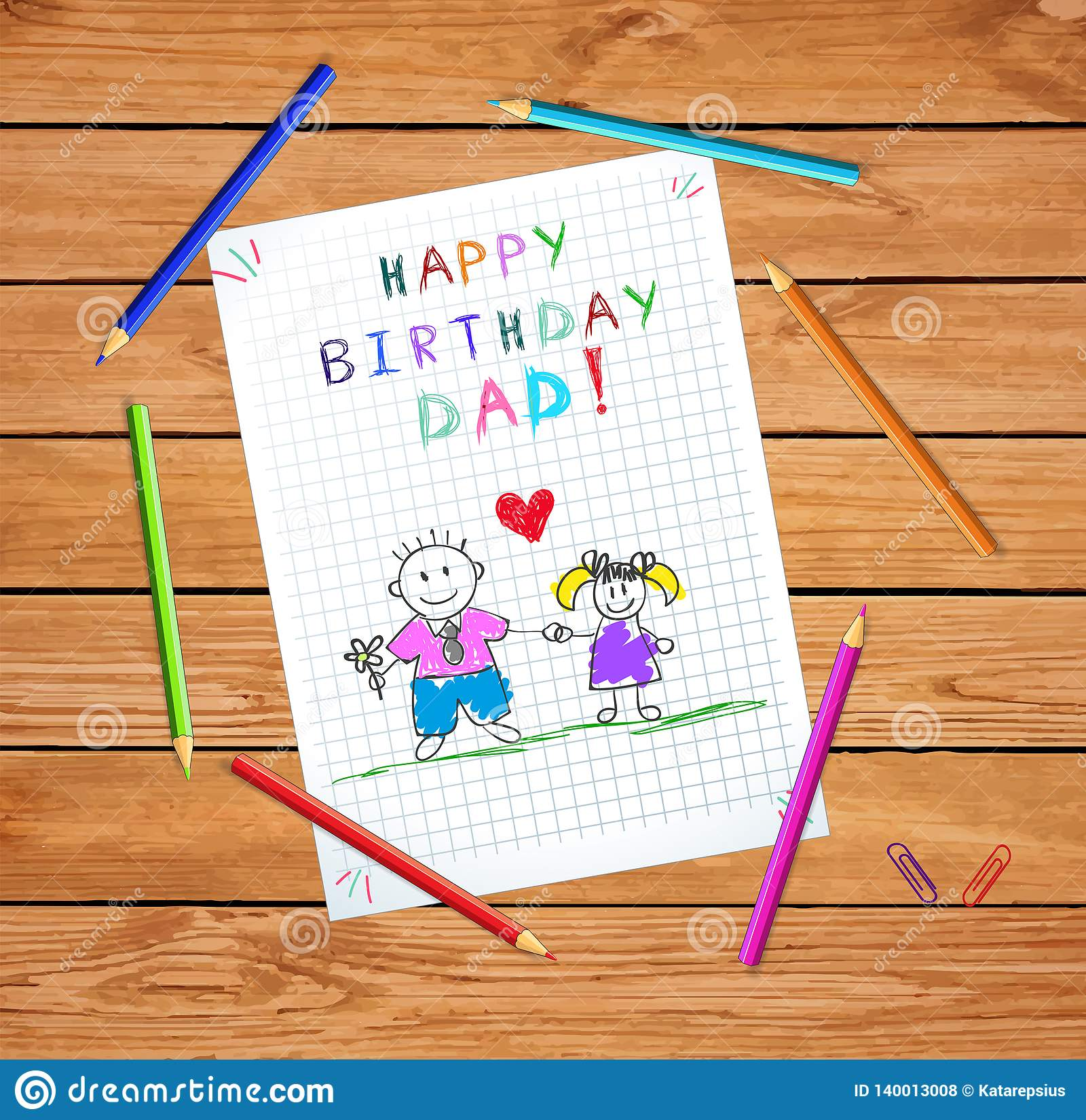 Happy Birthday Dad Drawing Of Father And Daughter Stock Vector Illustration Of Draw Colored 140013008