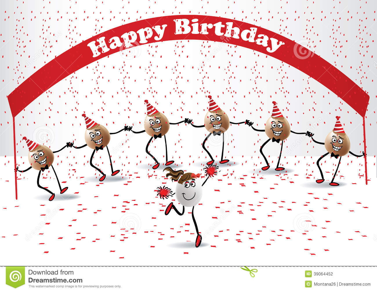 Astonishing Happy Birthday Dance Stock Vector Illustration Of Ornate 39064452 Personalised Birthday Cards Veneteletsinfo