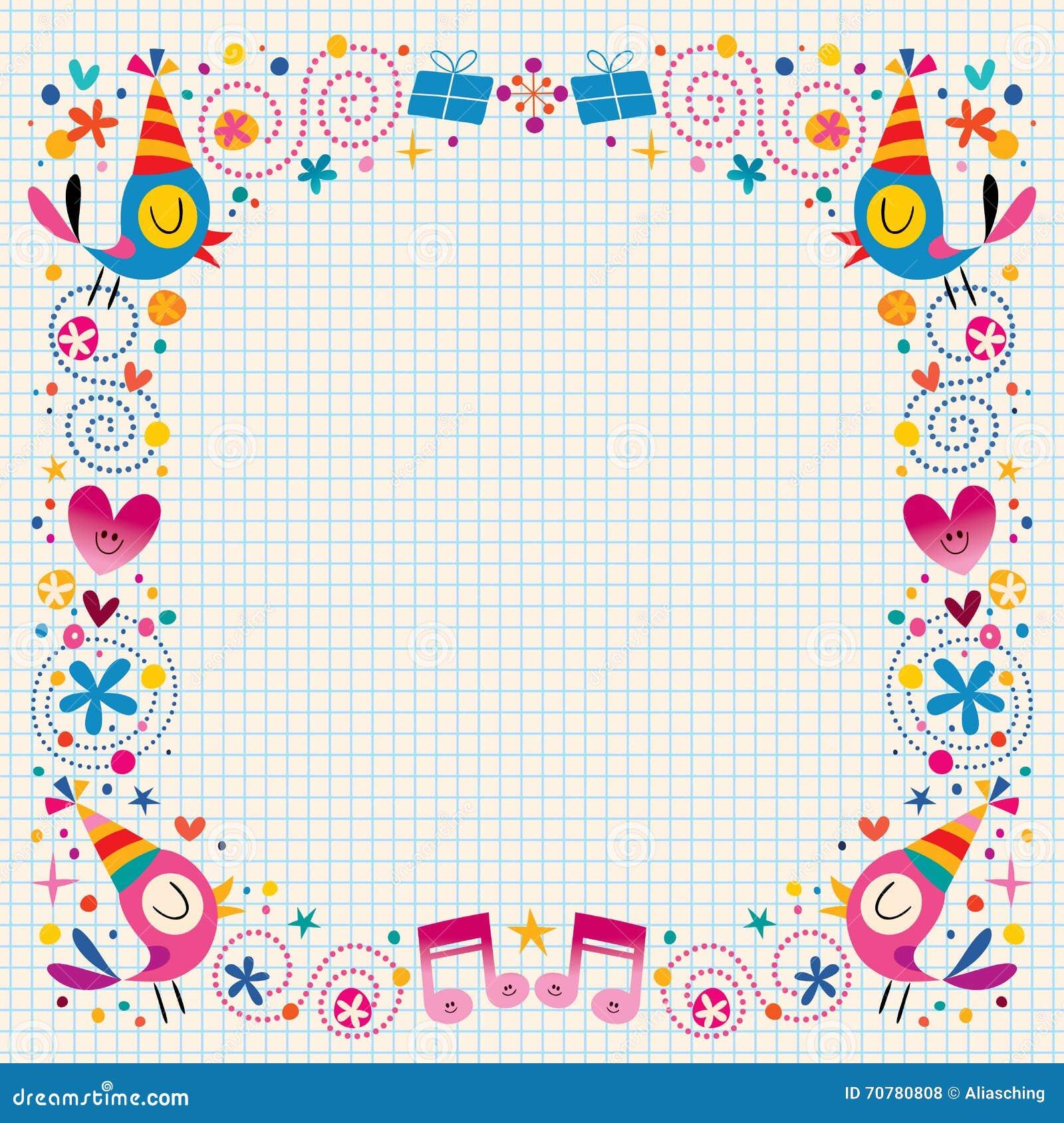 happy birthday decorative border stock vector
