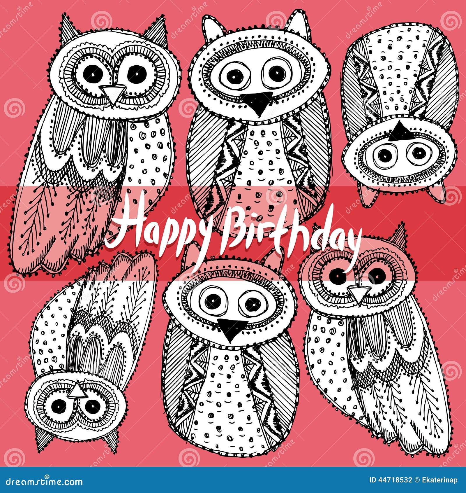 Happy Birthday Decorative Hand Dravn Cute Owl Sketch Doodle Bla