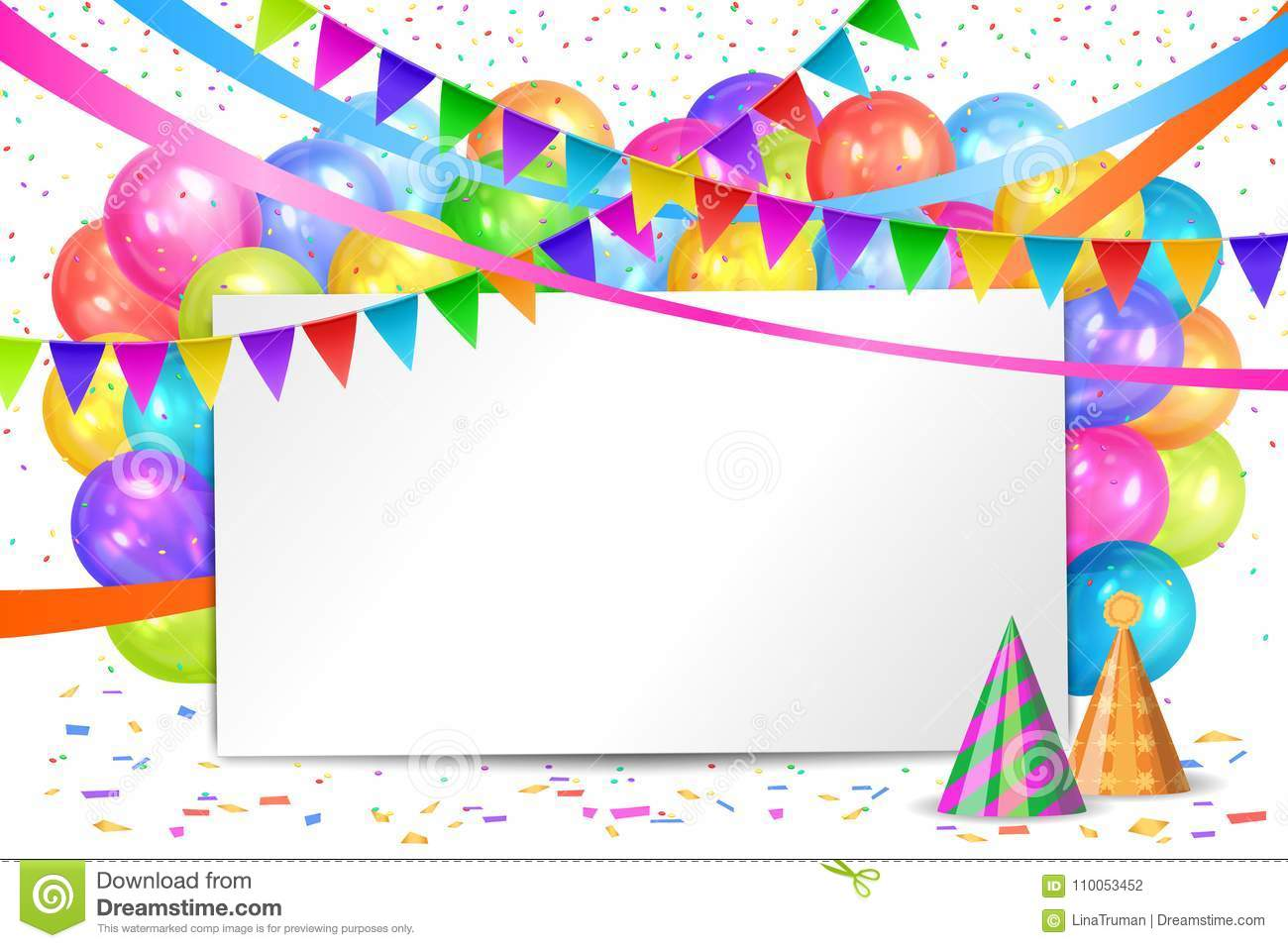 Happy Birthday Design. Balloons, Flags Garlands And White Sheet ...
