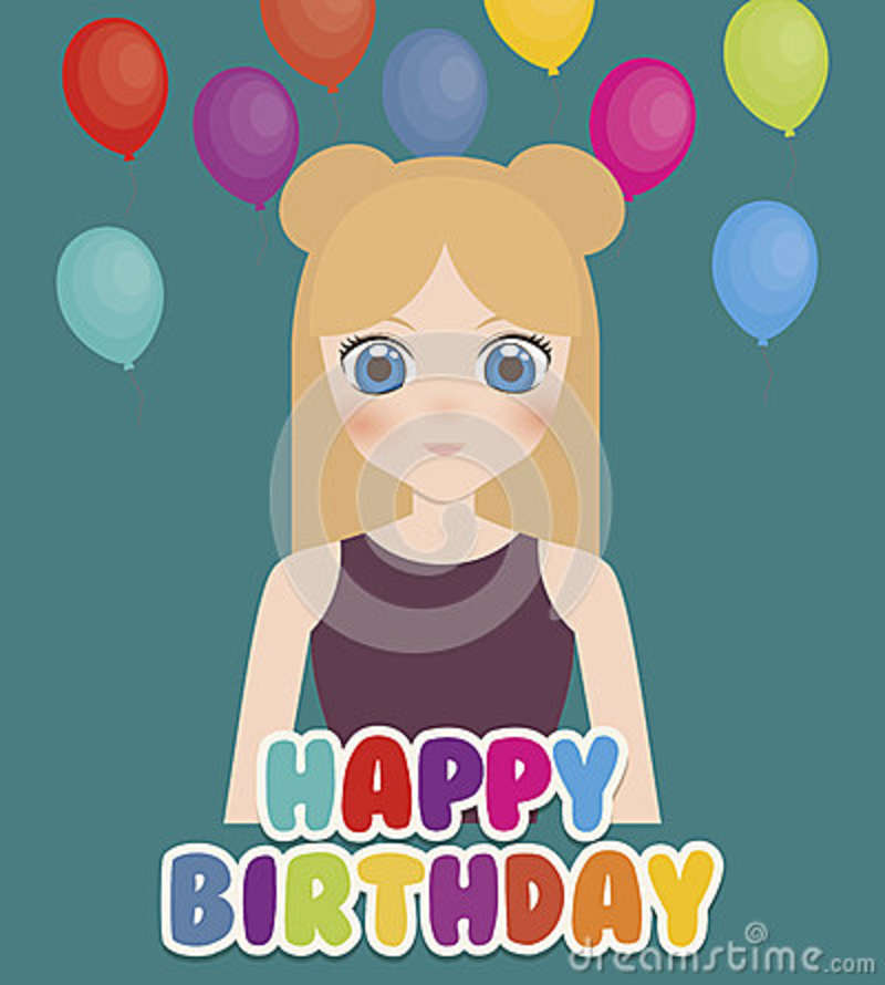 Happy Birthday Card With Anime Girl And Balloons Colorful Design Illustration