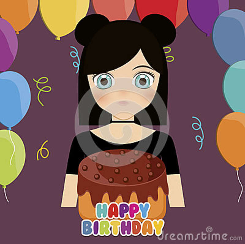 Happy Birthday Card With Anime Girl And Cake Colorful Design Illustration