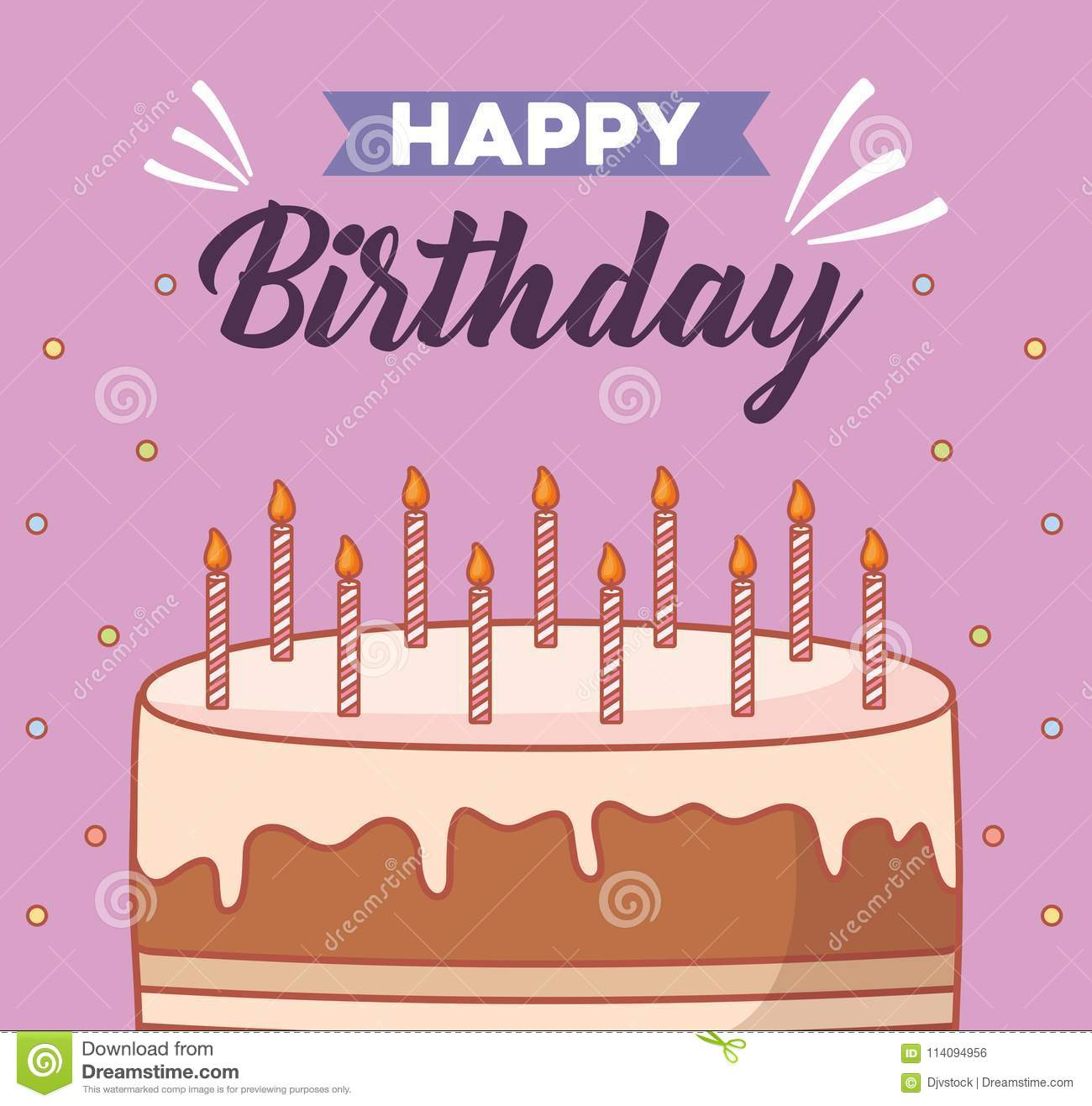 Happy Birthday Design Stock Vector Illustration Of Decorative