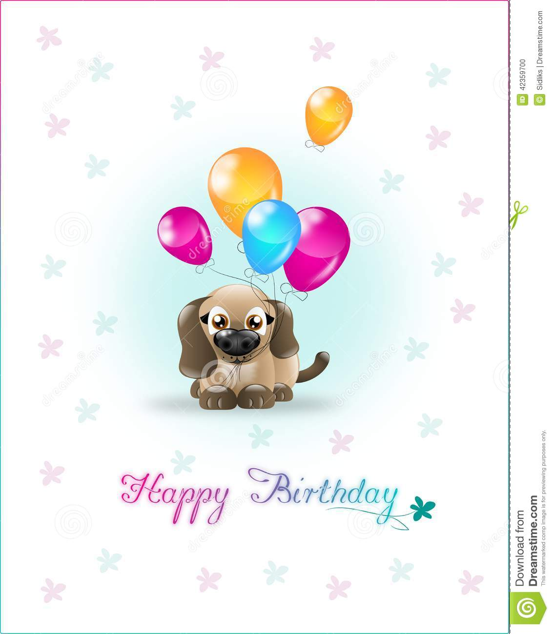 Cute Brown Dog With Ballons On Happy Birthday Card