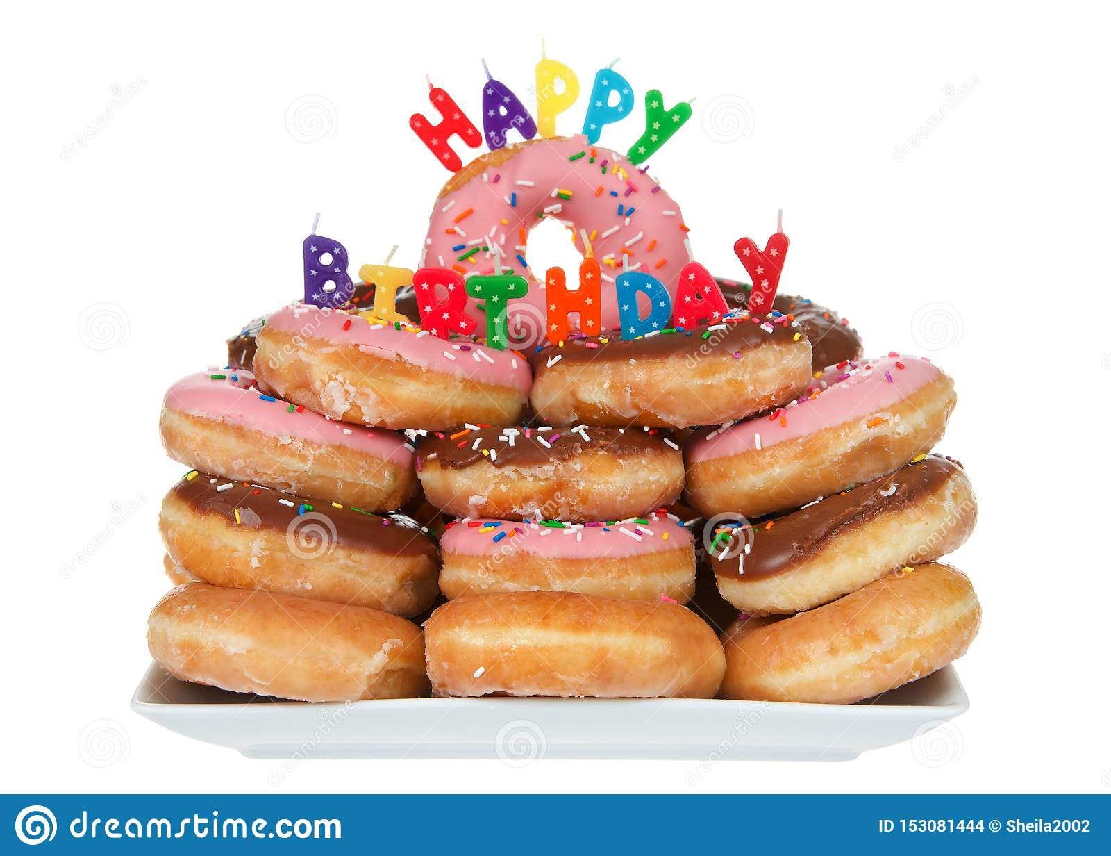 Sensational Happy Birthday Donut Cake Isolated Stock Photo Image Of Brown Funny Birthday Cards Online Elaedamsfinfo