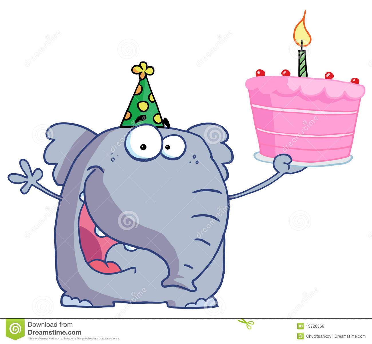 Happy Birthday Elephant In A Party Hat Holding Up Stock