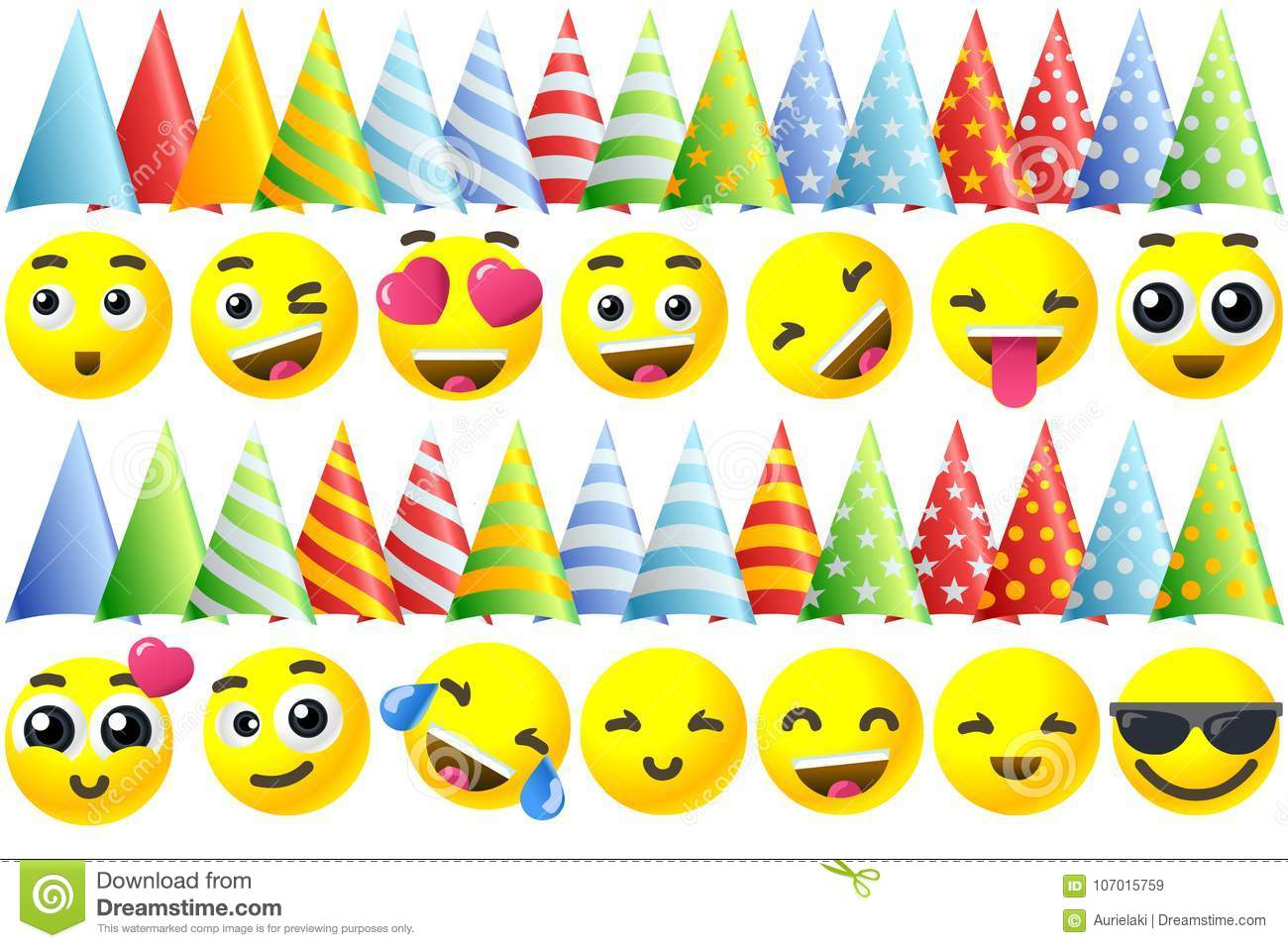 Happy Birthday Background 3D Banner With Emoji Icon Set