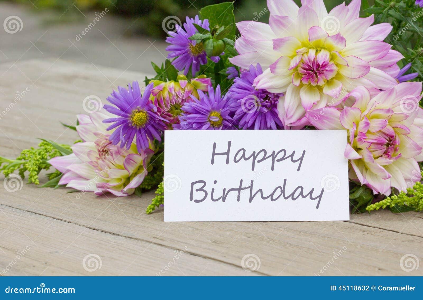 Happy Birthday stock photo. Image of flowers, wood, blue   45118632