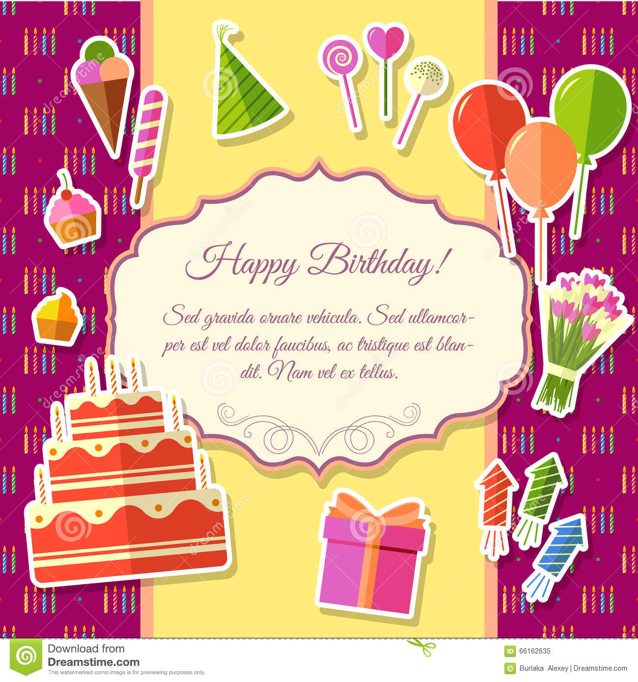 B day poster designs - Happy Birthday Festive Elements On Pink Background Poster In Sticker Style Design Vector Illustration Template