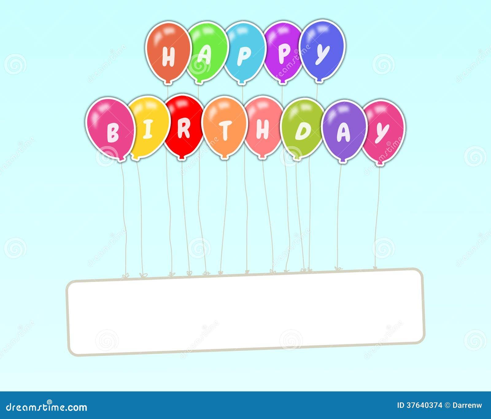 Birthday Sign Ups: Happy Birthday Floating Sign Stock Illustration