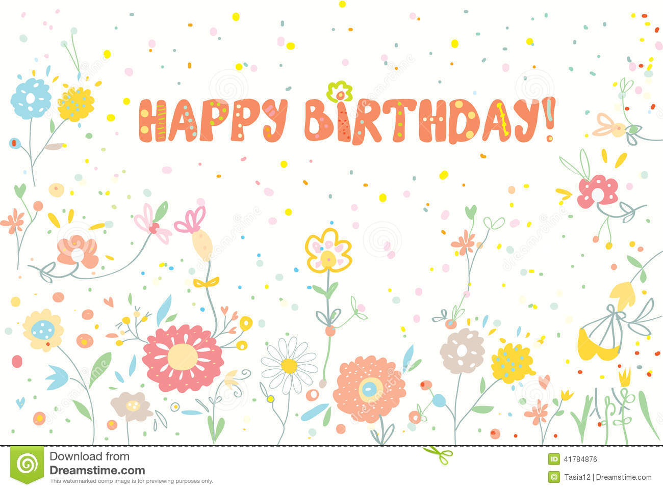 happy birthday floral banner cute stock vector illustration of