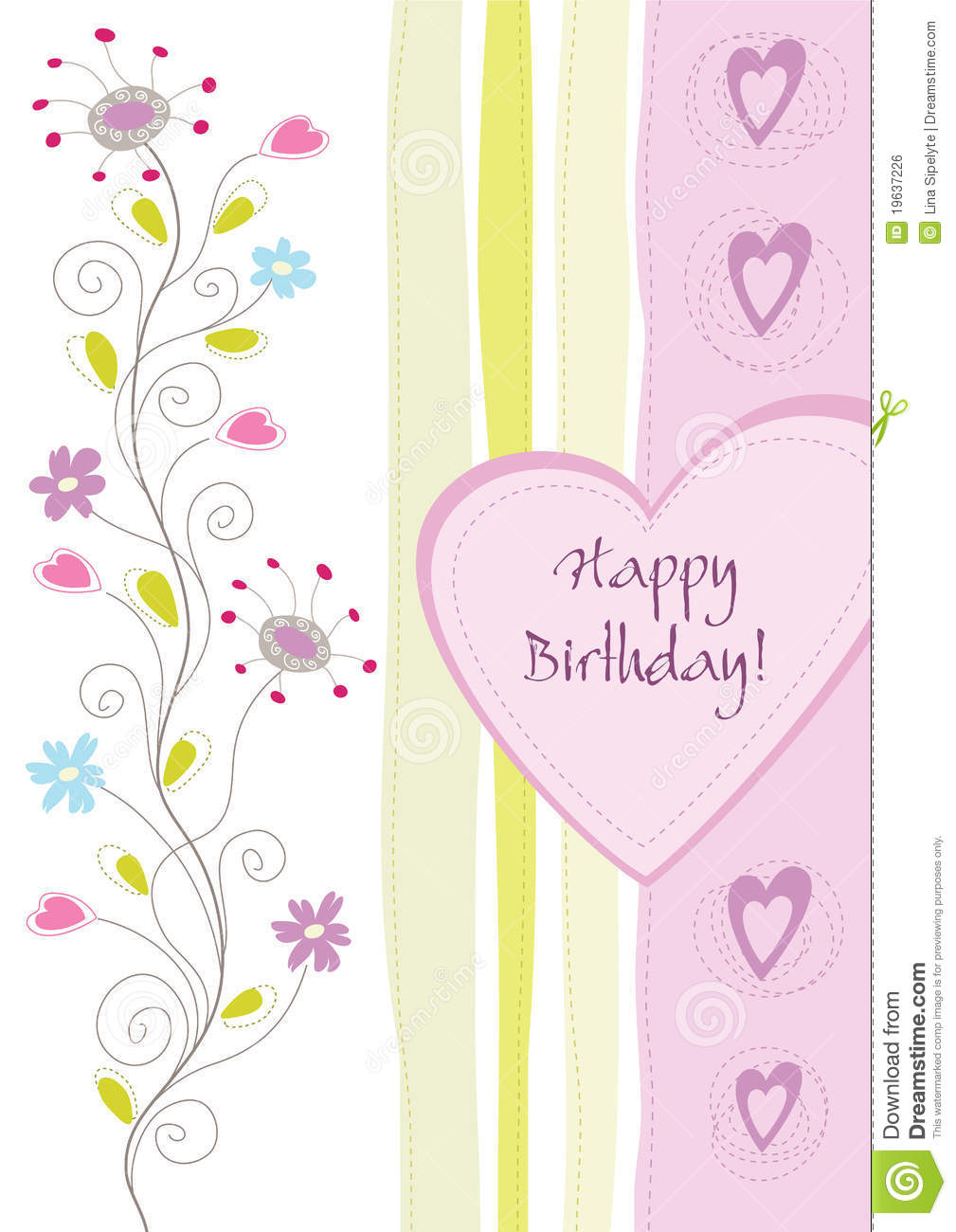 Happy birthday floral greeting card. This image is an illustration.
