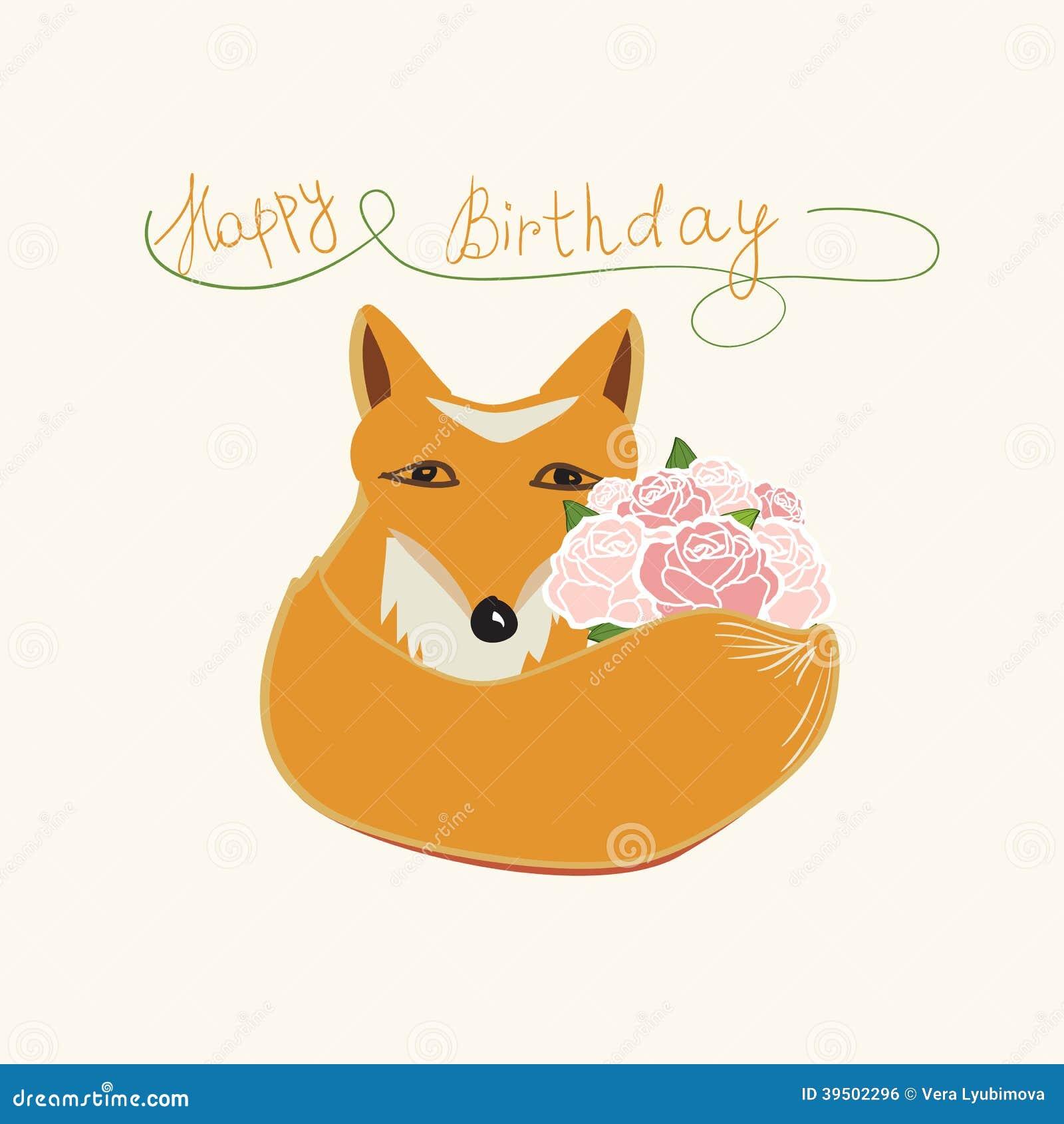 Happy Birthday fox greeting card design