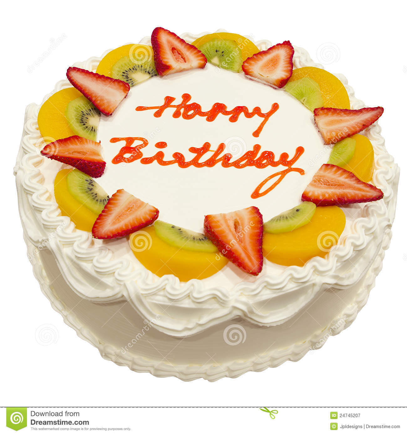 Happy Birthday Fresh Fruit Cake Stock Images