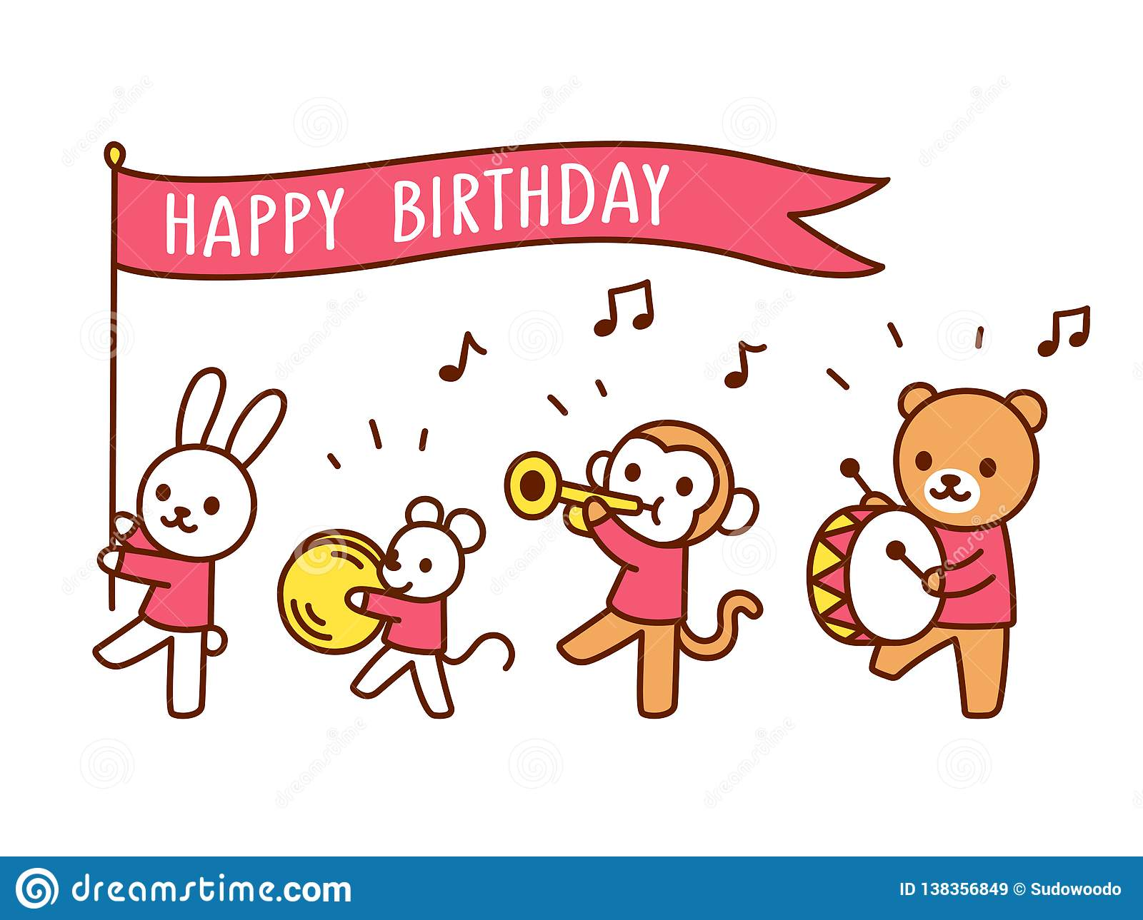 Cute Happy Birthday Greeting Card With Funny Cartoon Animals Playing Music Kawaii Marching Band Parade Drawing Vector Illustration For Children