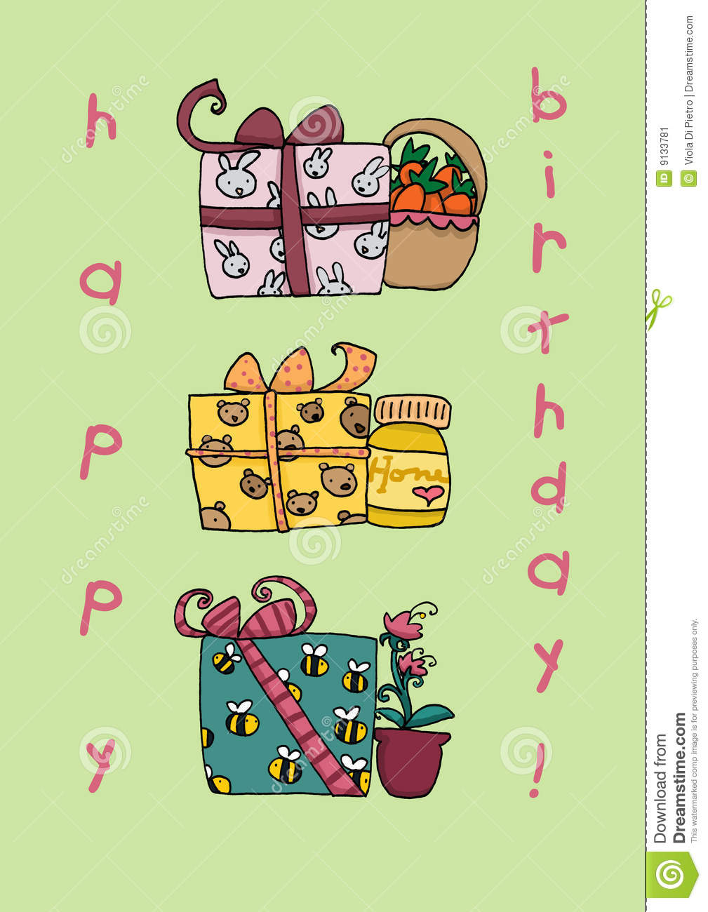 Happy Birthday Funny Gifts Card Stock Illustration Illustration Of