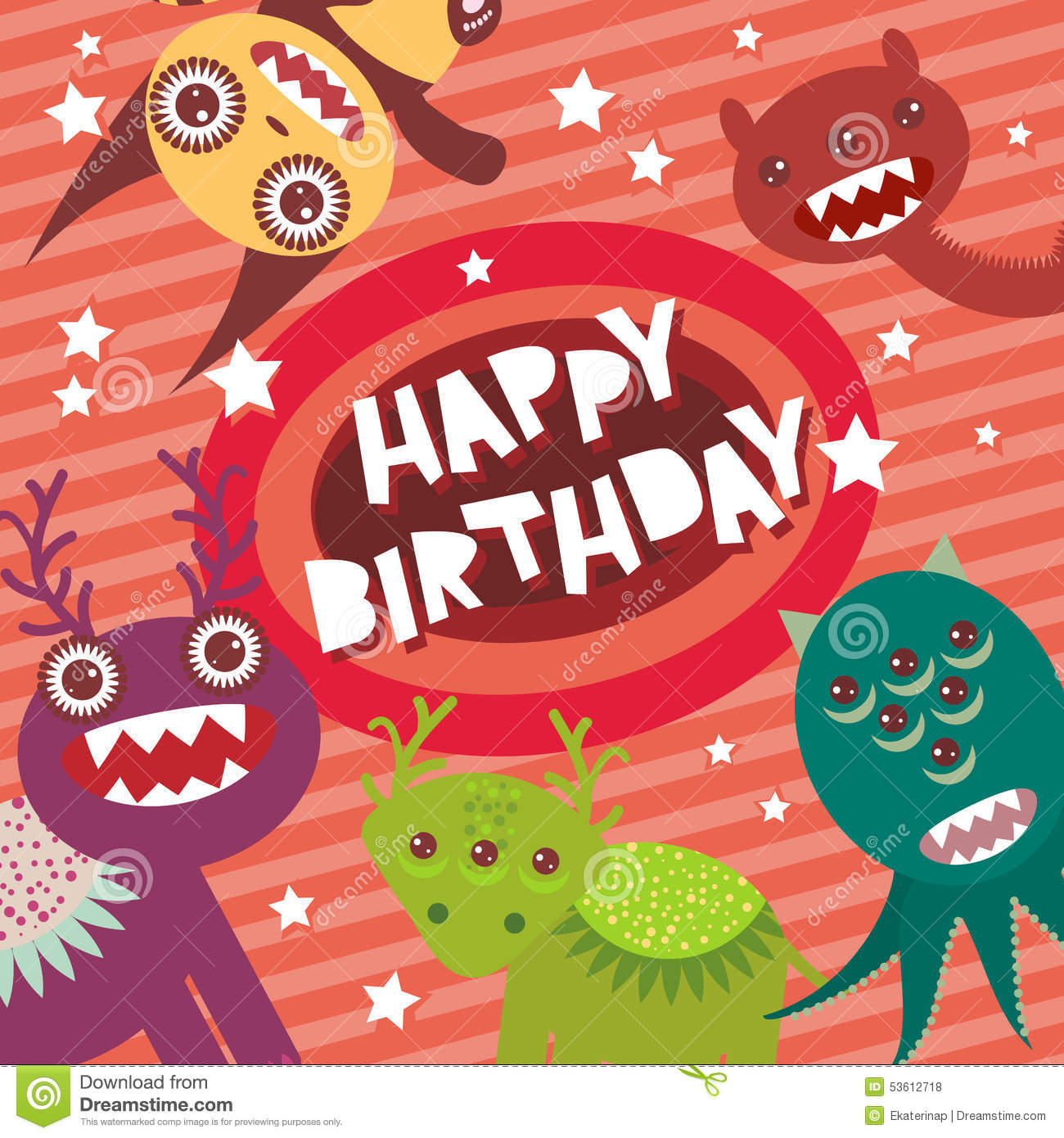 Happy Birthday Funny Monsters Party Card Design On Pink