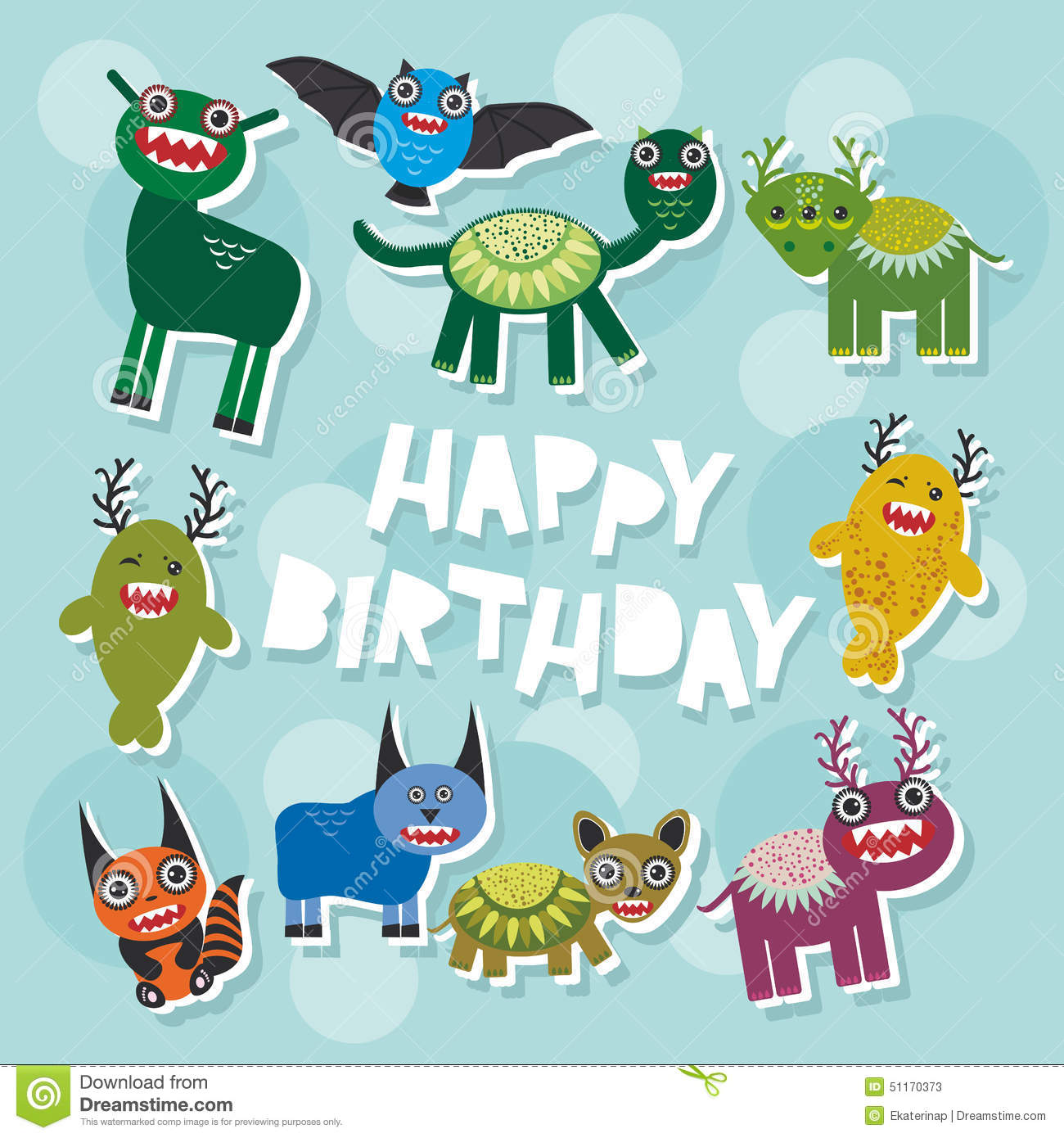 Monster party invitation card design vector cartoon illustration happy birthday funny monsters party card design vector stock photos kristyandbryce Image collections