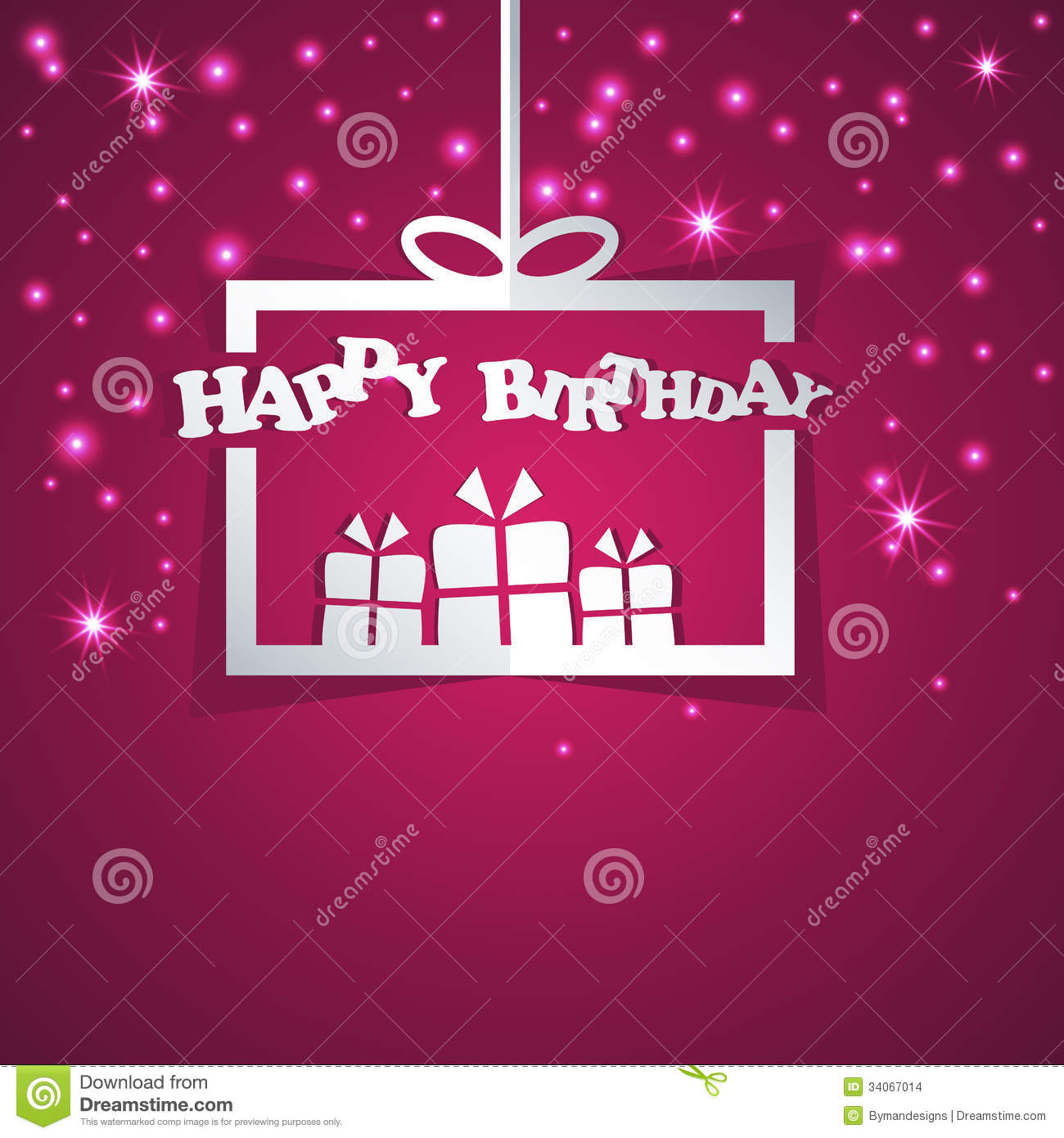 Happy Birthday Gift Box Abstract Paper Stock Vector Illustration