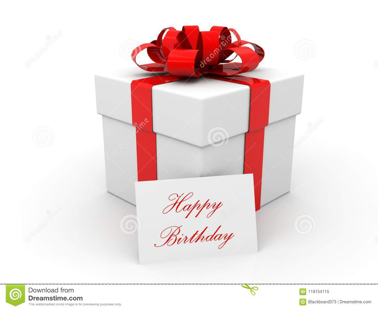 Happy Birthday Gift Box Over White Background 3d Render Stock