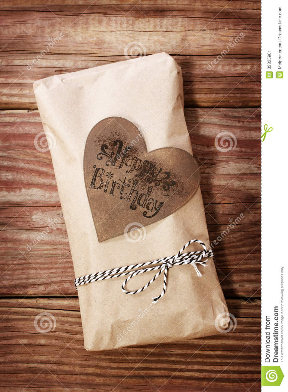 Happy Birthday Gift Box In A Rustic Earthy Style Stock