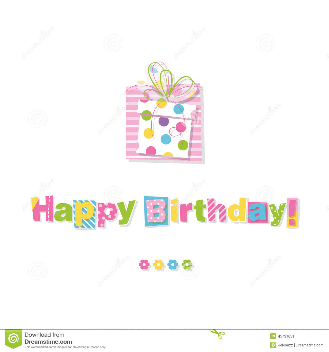 Happy Birthday Gift Greeting Card Stock Vector Image