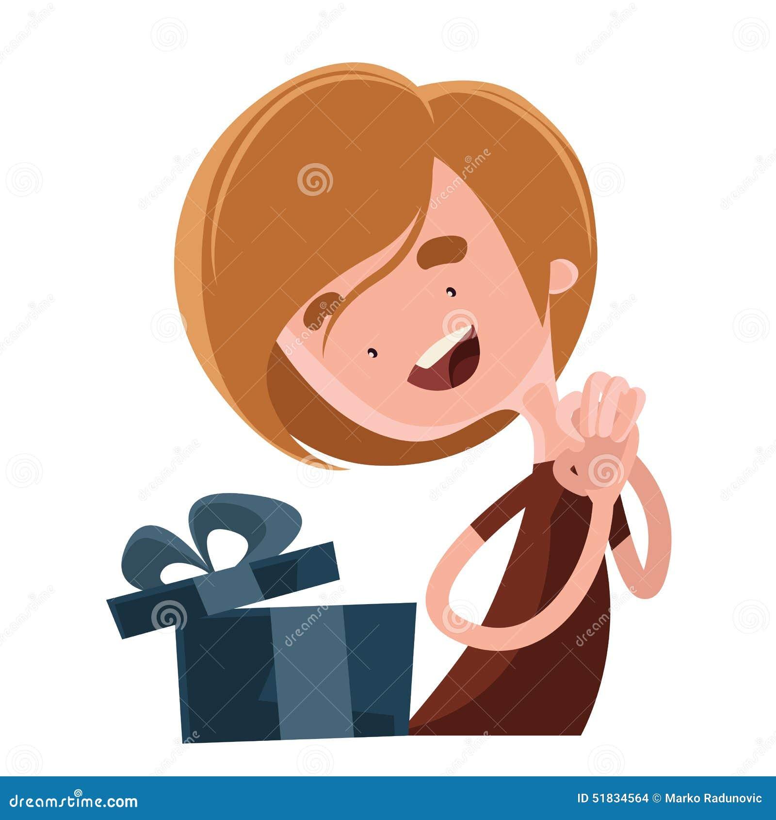 Happy Birthday Gift Illustration Cartoon Character Stock
