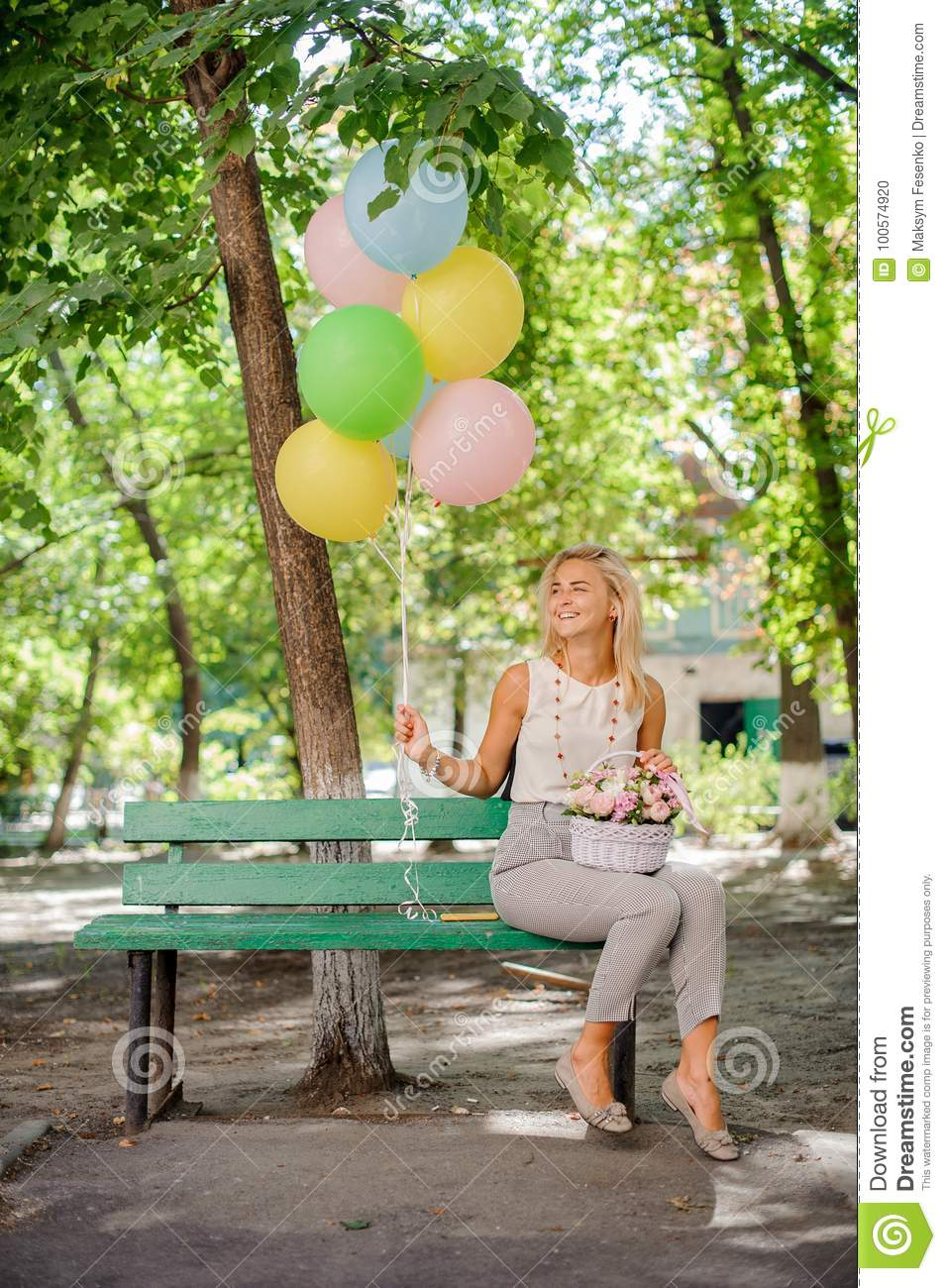 Happy birthday girl with a bouquet of pretty flowers and balloons happy birthday girl with a bouquet of pretty flowers and balloons izmirmasajfo
