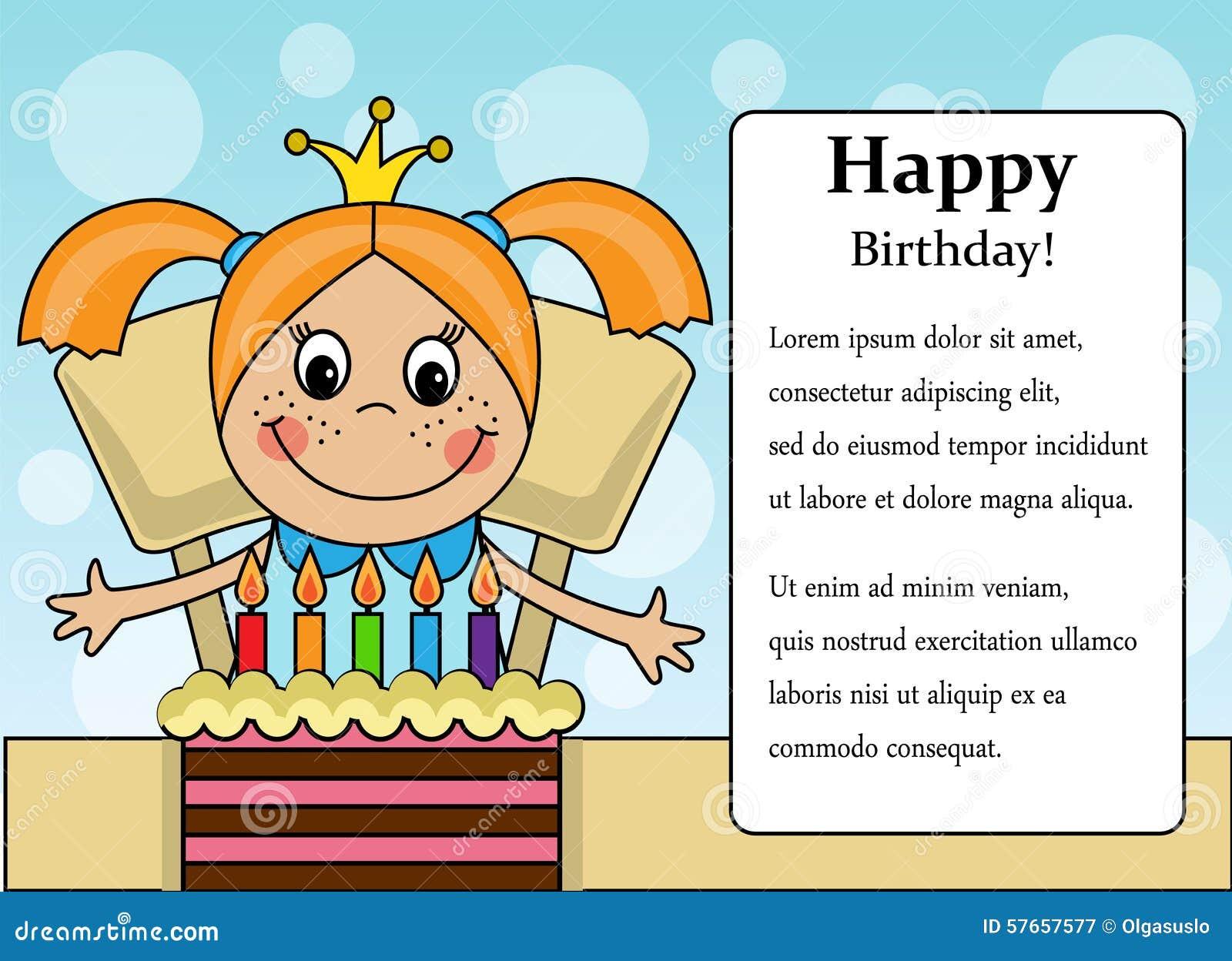 Happy Birthday Girl Stock Vector Image 57657577