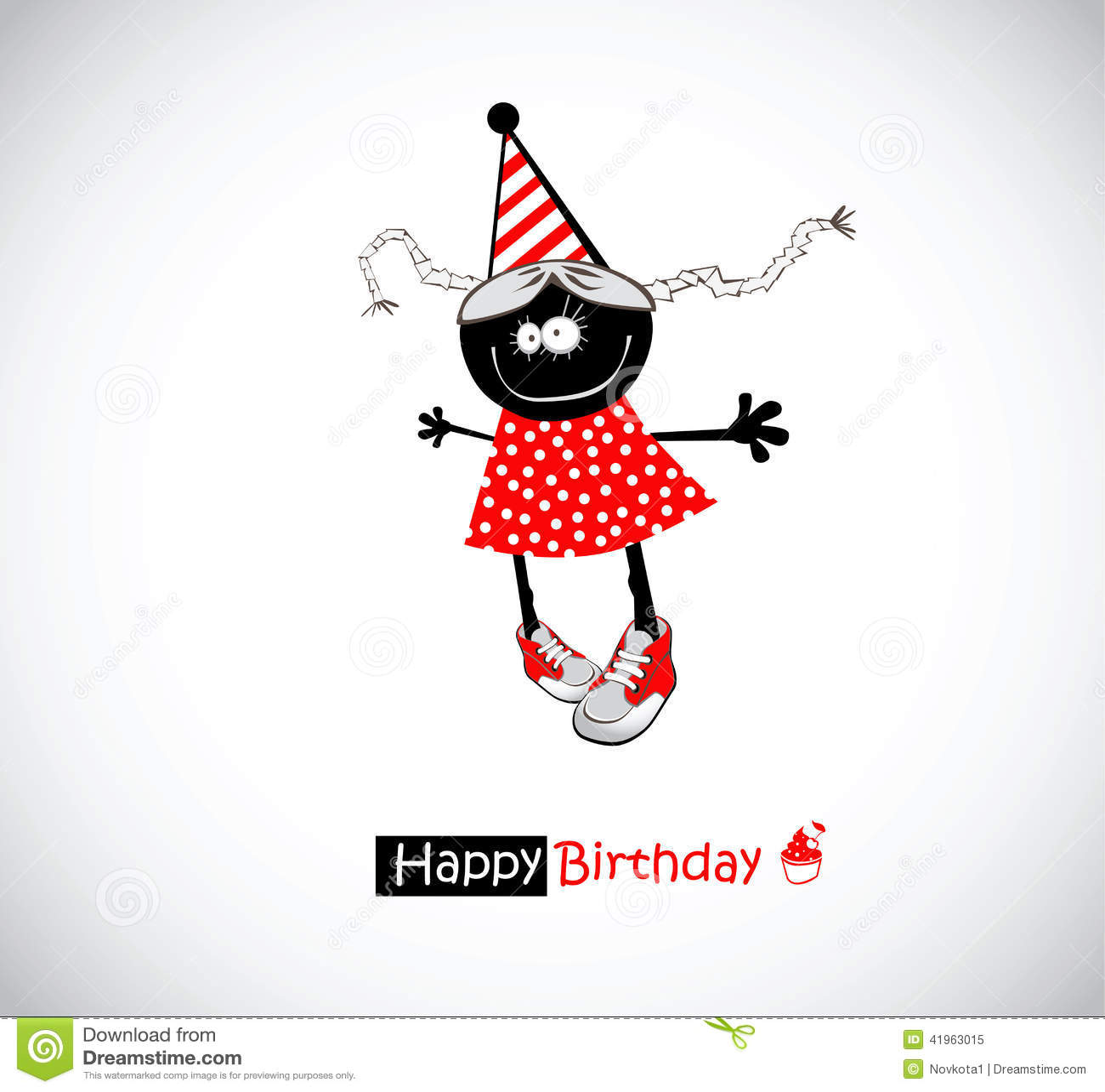 Happy Birthday Girl Illustration ~ Happy birthday girl funny stock illustration image