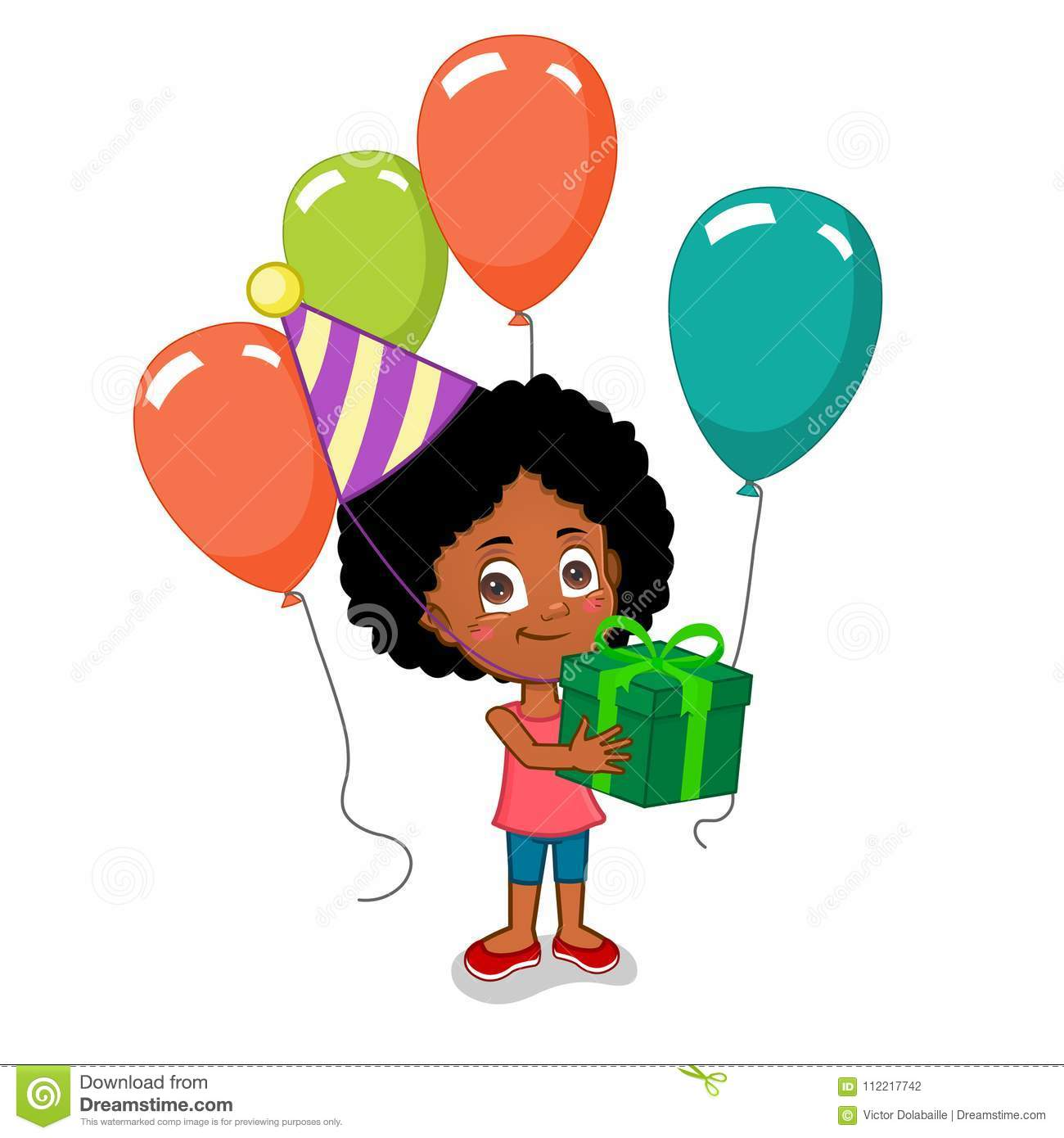 Happy Birthday Girl Holding Gift Box With Balloons And Hat