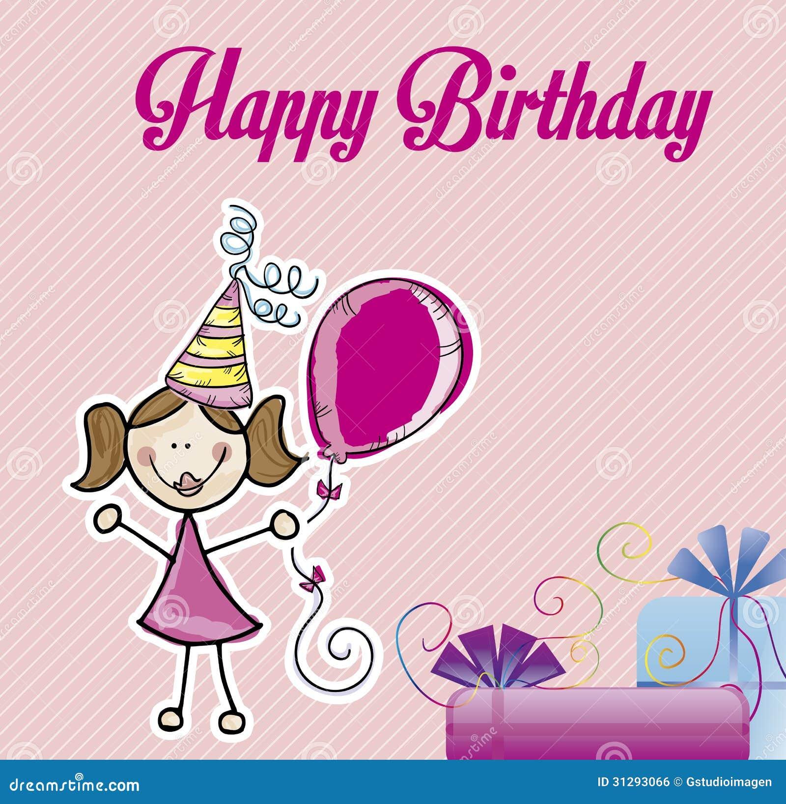 Happy Birthday Girl Illustration ~ Happy birthday girl stock vector illustration of art