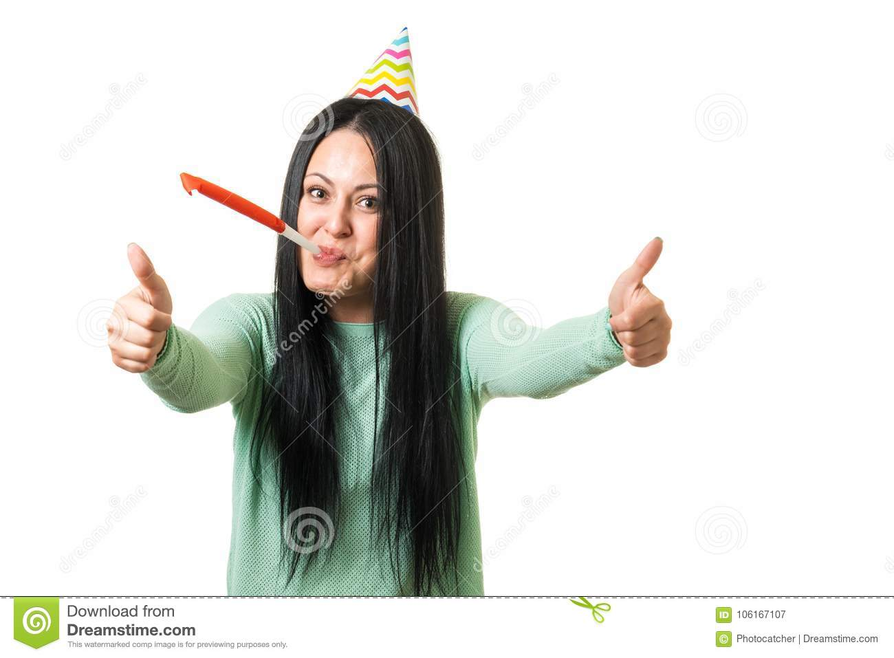 Young Cute Brunette Girl Celebrating Birthday With Party Stuff Showing Thumbs Up Gesture