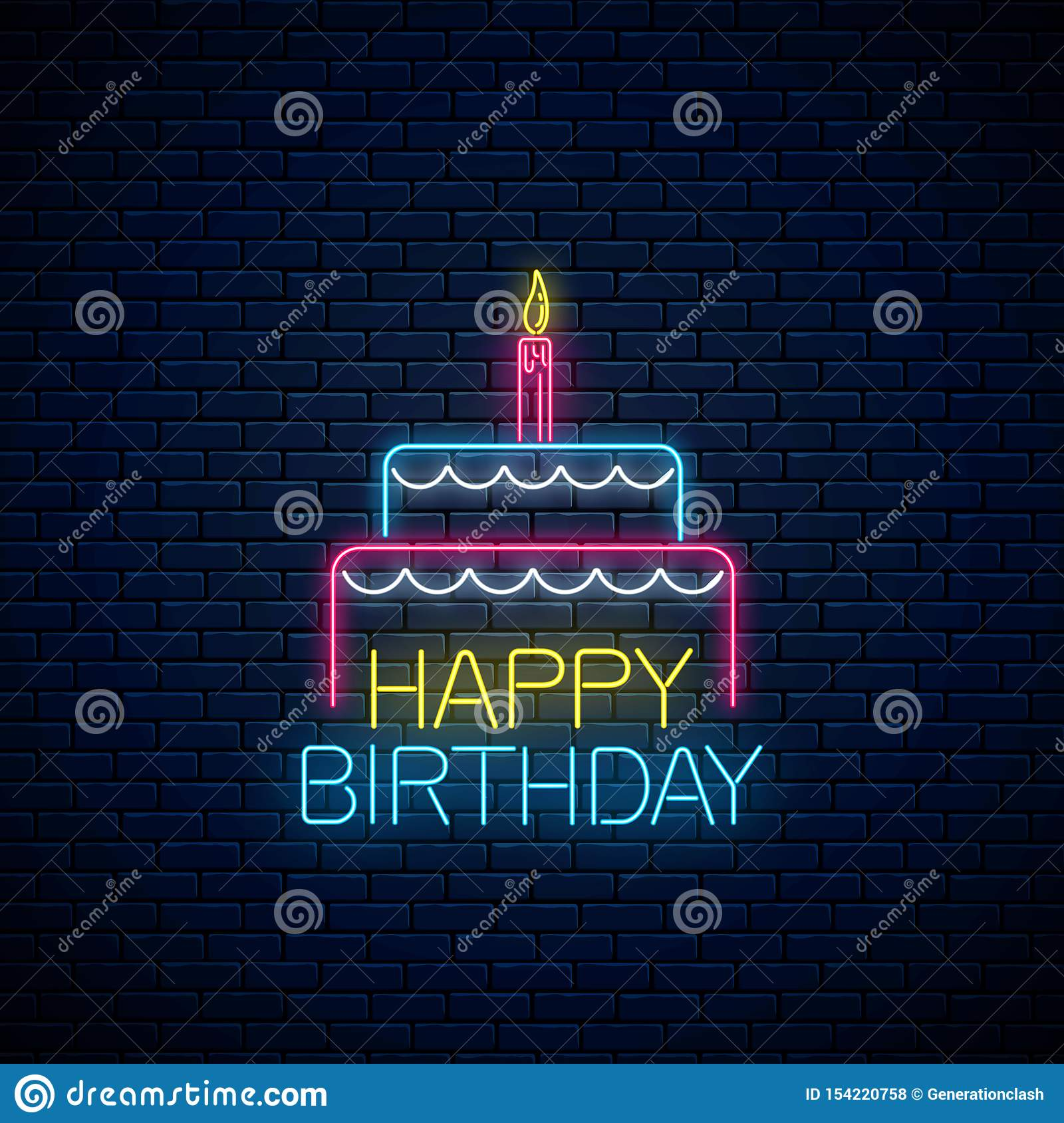 Pleasing Happy Birthday Glowing Neon Sign With Cake And A Candle Birthday Birthday Cards Printable Giouspongecafe Filternl